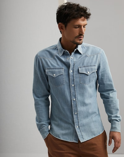 a29e3ee61 Camisa Denim Denim Ultraclaro Hombre 1 - Brunello Cucinelli