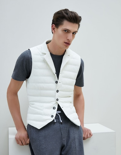 d118603d368 Down Sleeveless Jacket Off-White Man 1 - Brunello Cucinelli