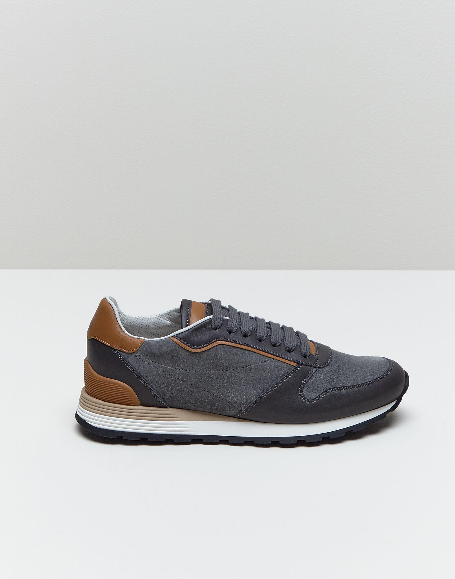 Brunello Cucinelli Sneakers aus Veloursleder Grau Größe