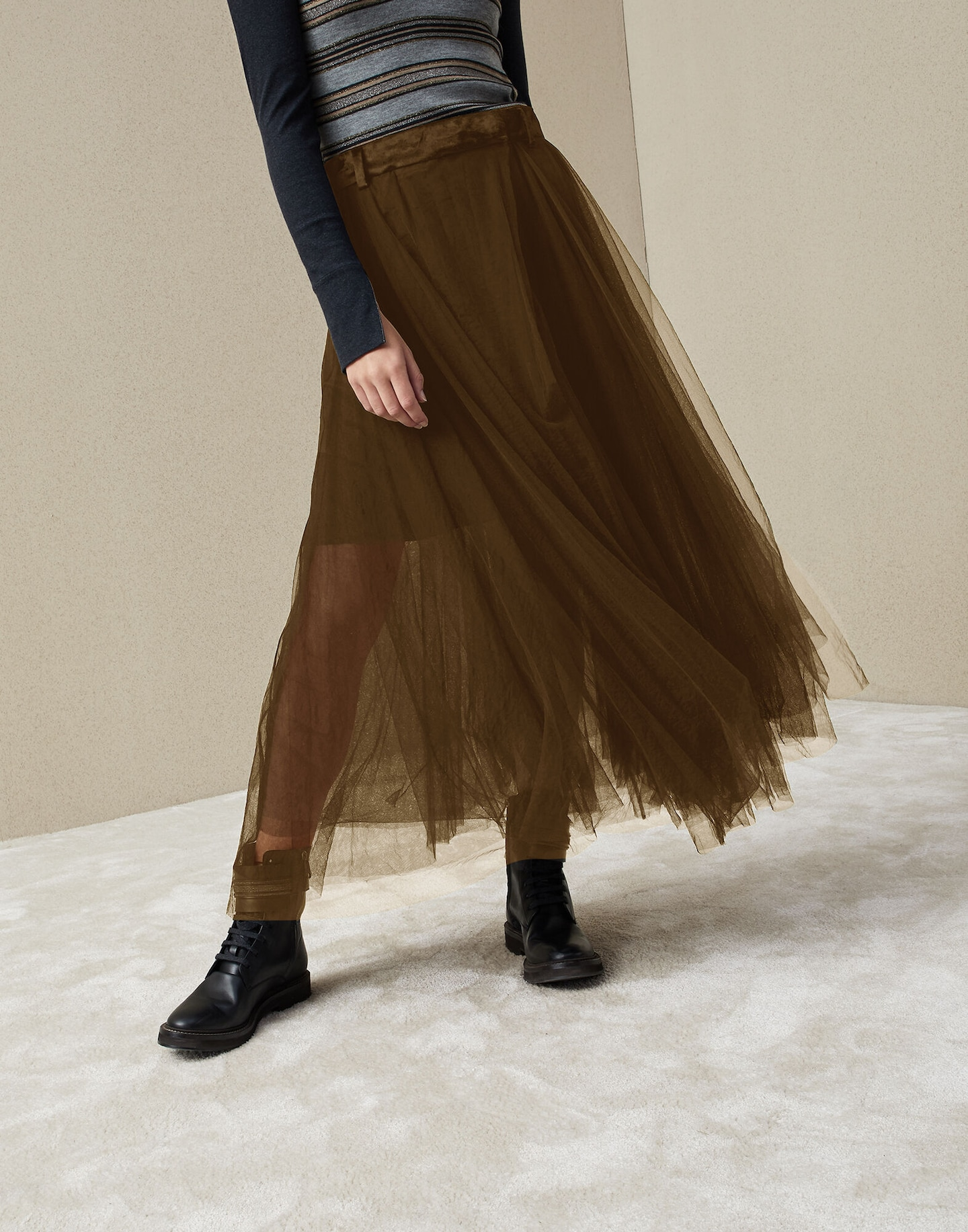 a75d305dfe Midi Skirt Mud Woman 1 - Brunello Cucinelli