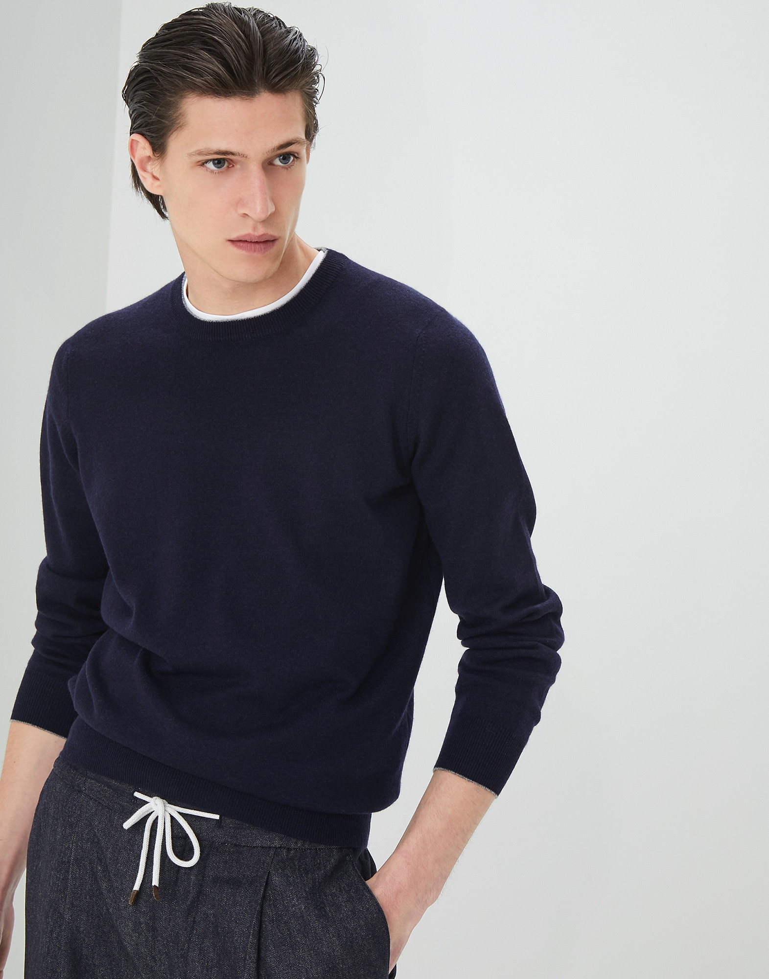 Crewneck Sweater Navy Blue Man 1 - Brunello Cucinelli