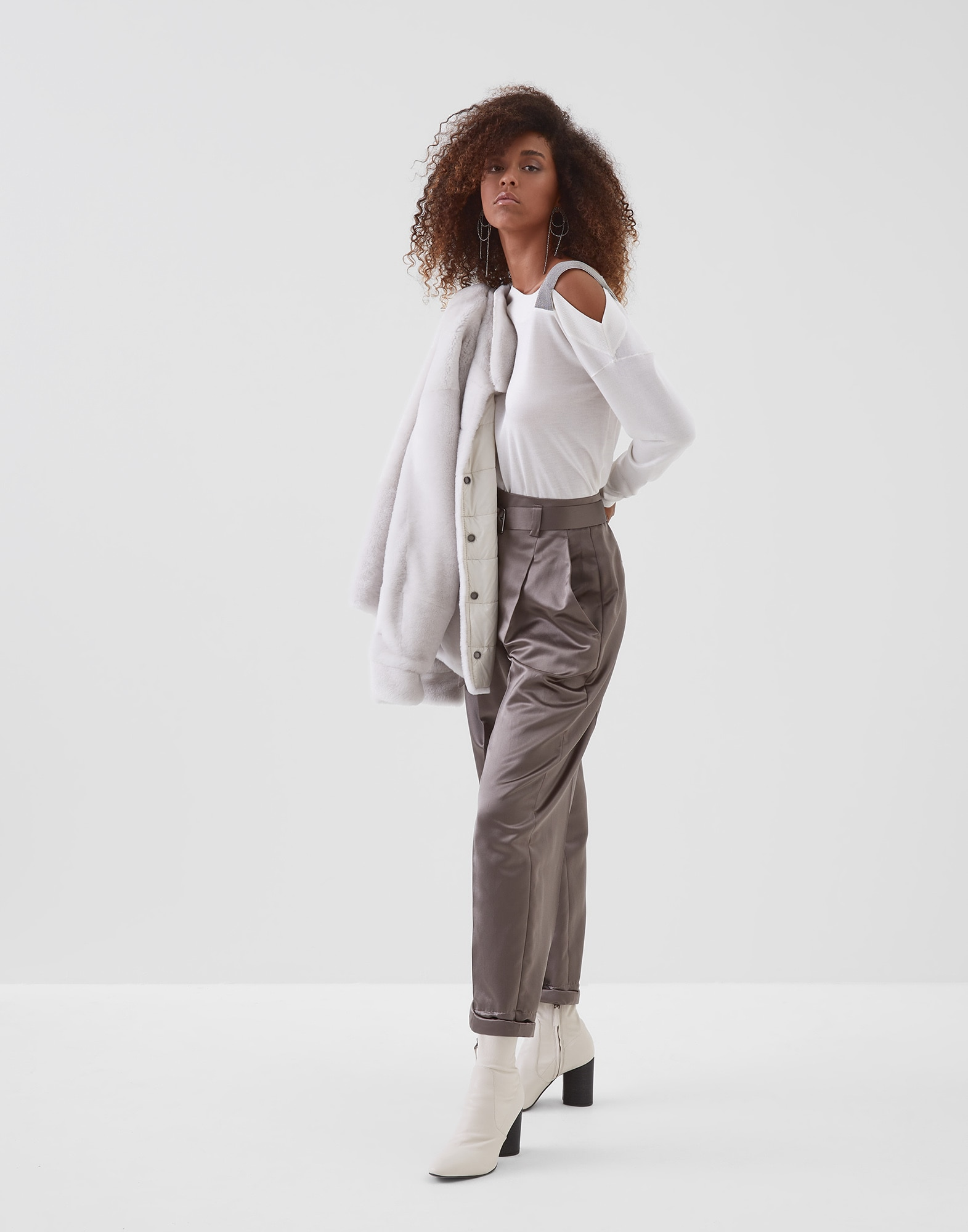 Scoop Neck White Woman 3 - Brunello Cucinelli