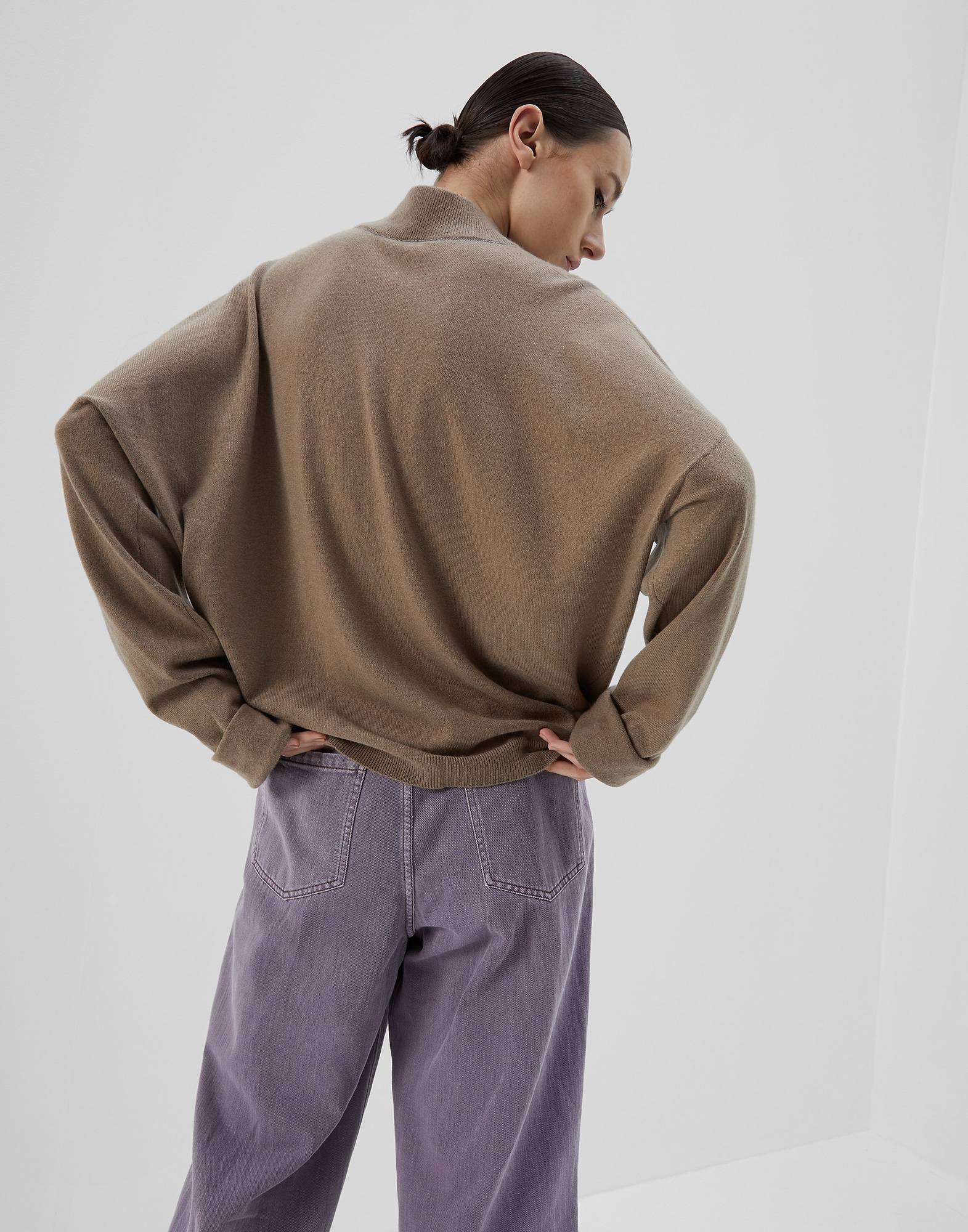 High Neck Sweater Brown Woman 1 - Brunello Cucinelli