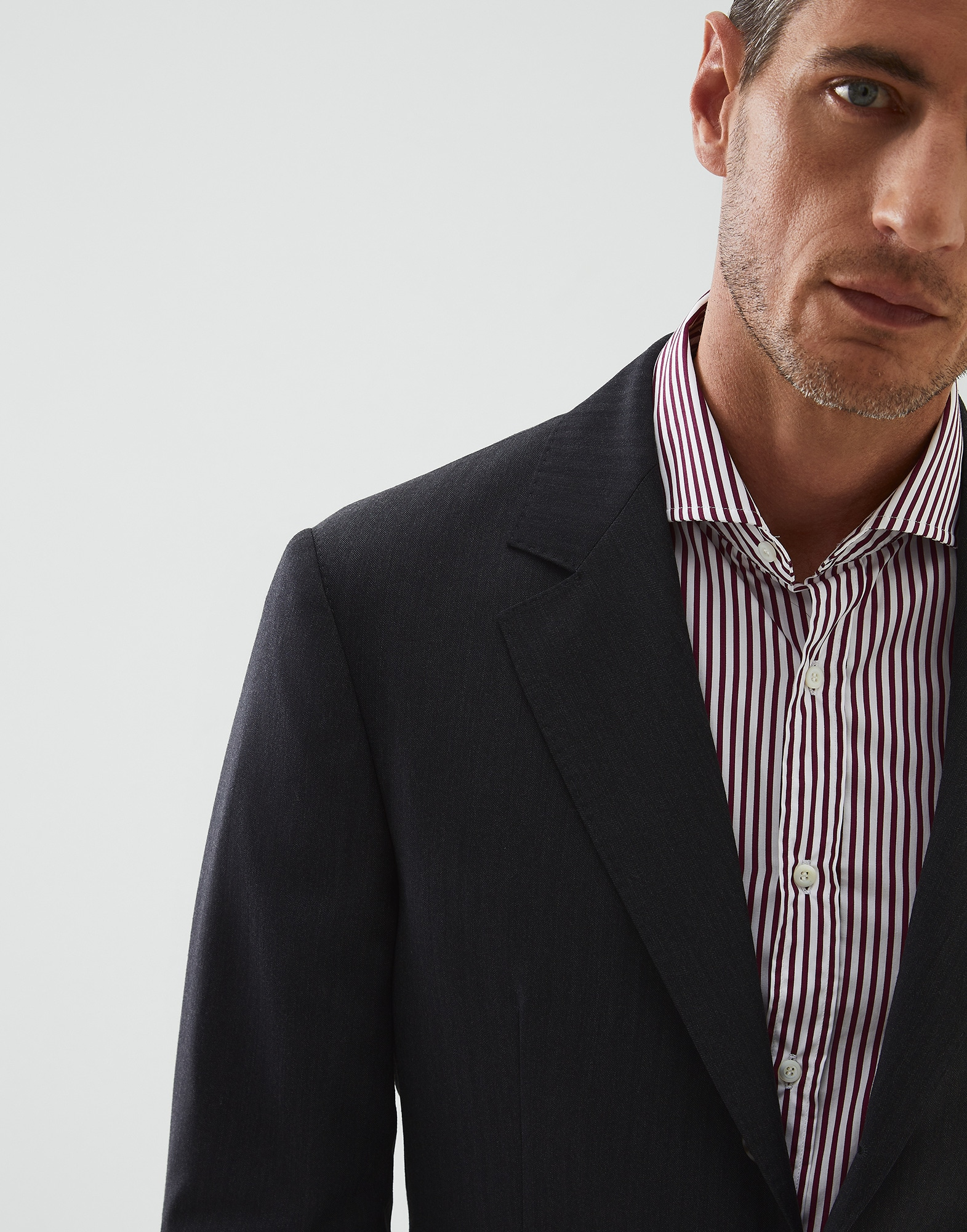 Single Breasted Blazer Anthracite Man 2 - Brunello Cucinelli