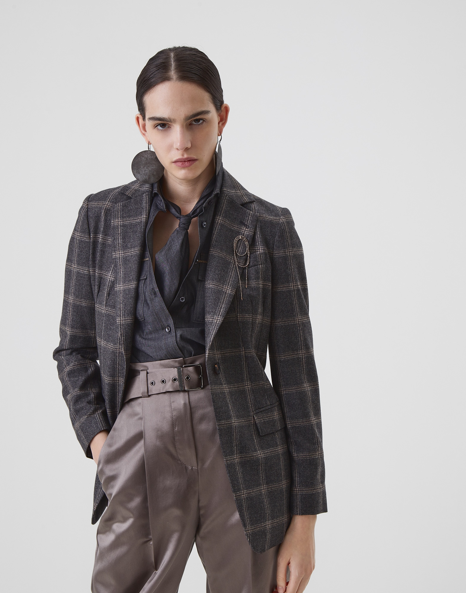 Blazer Medium Grey Woman 1 - Brunello Cucinelli