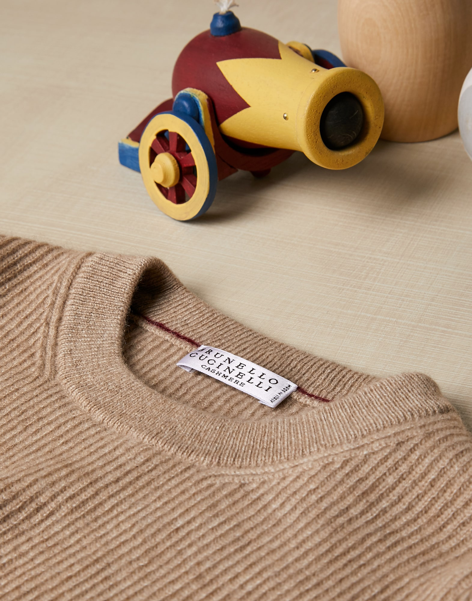 Crewneck Sweater Brown Boy 2 - Brunello Cucinelli