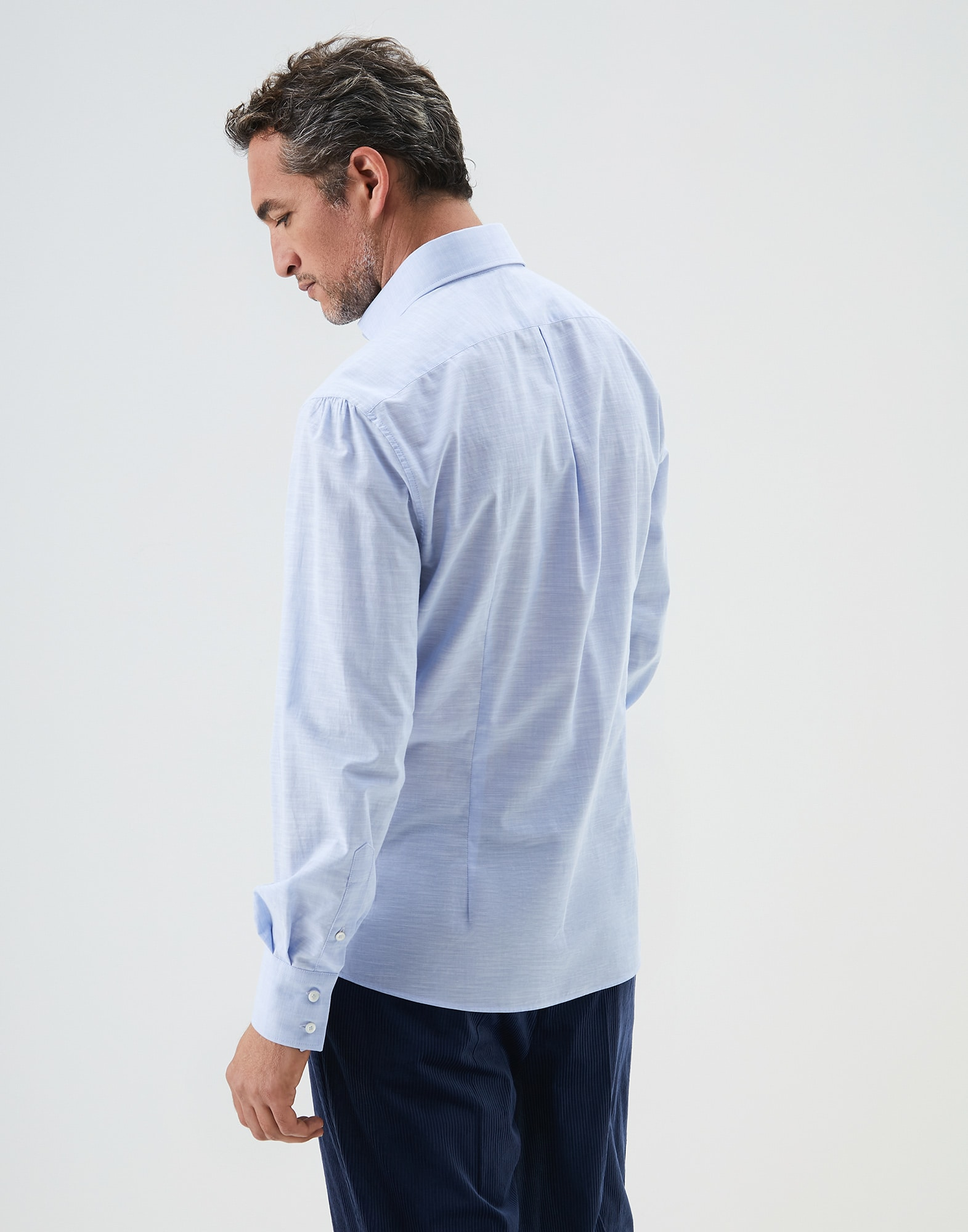 French Collar Shirt Sky Blue Man 2 - Brunello Cucinelli