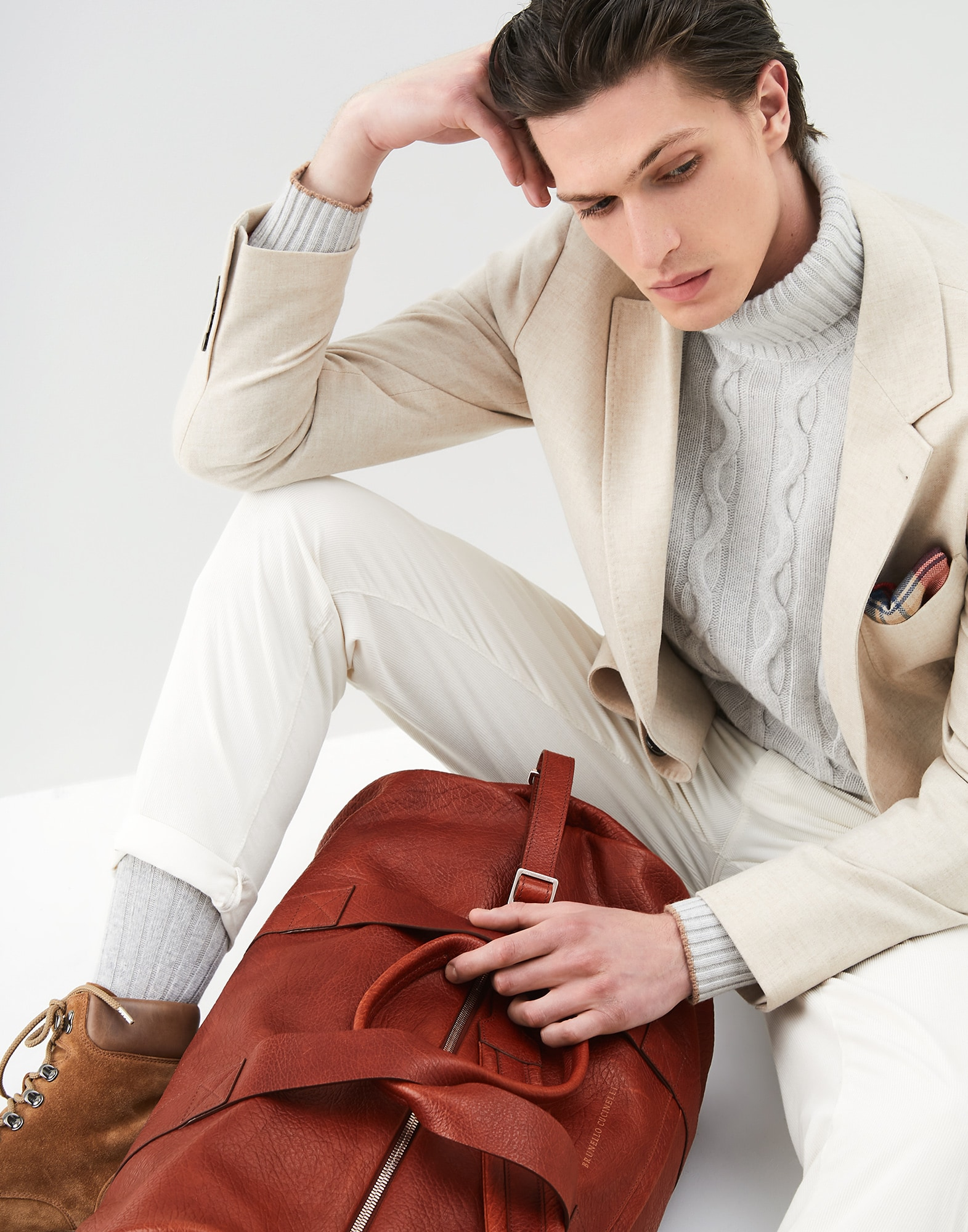 Leisure Bag Cognac Man 4 - Brunello Cucinelli