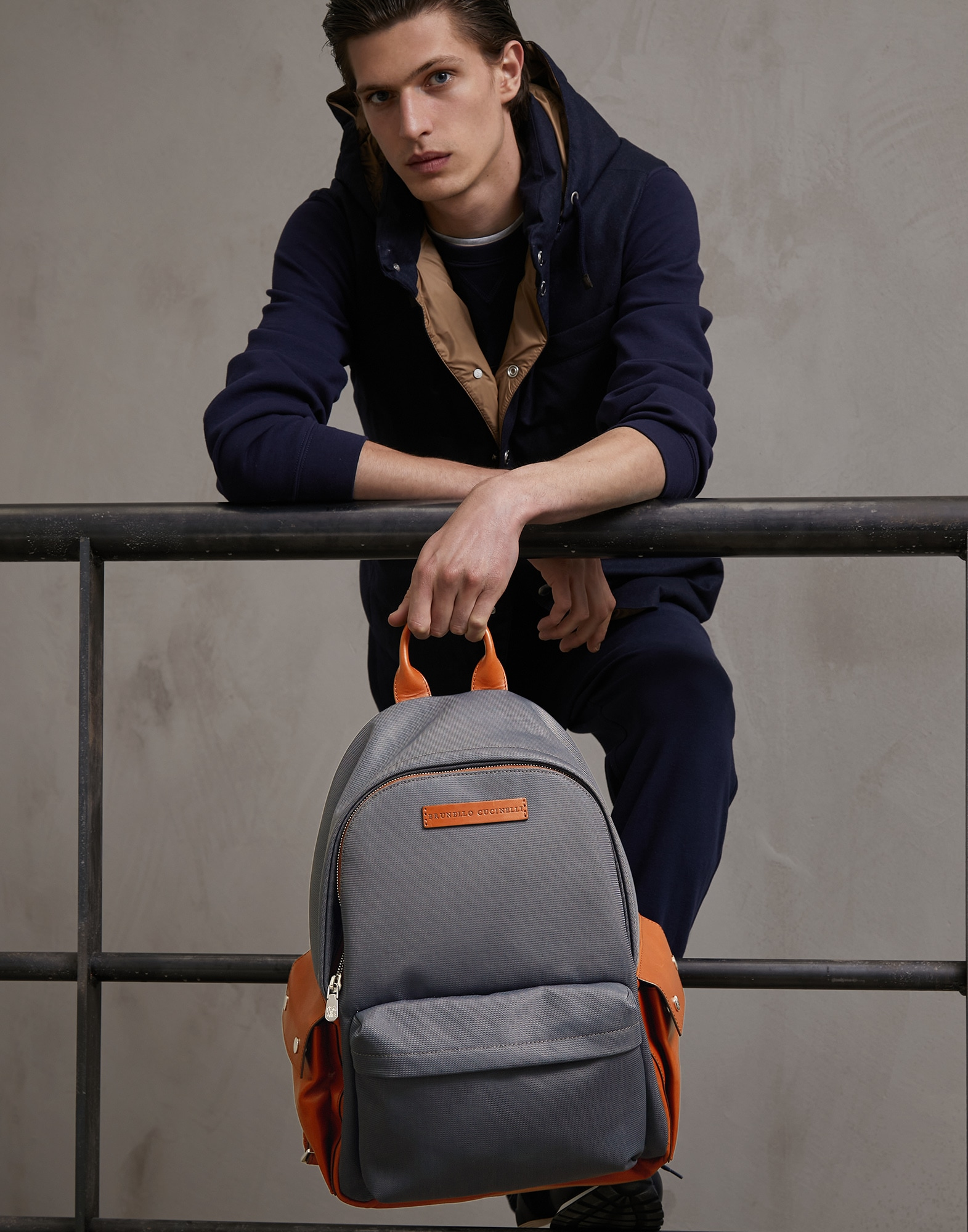 Backpack Lead Man 0 - Brunello Cucinelli