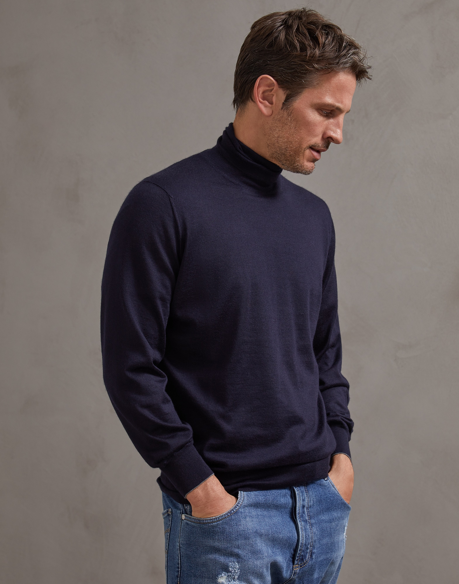 High Neck Sweater Navy Blue Man 0 - Brunello Cucinelli