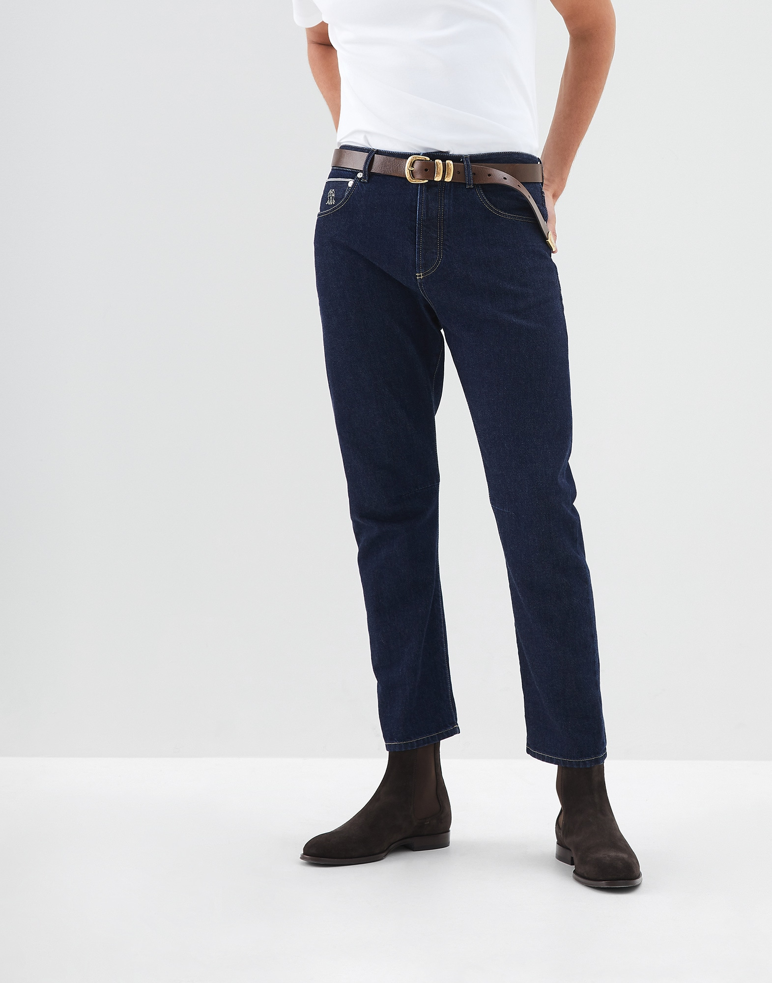 Denim Trousers Dark Denim Man 0 - Brunello Cucinelli