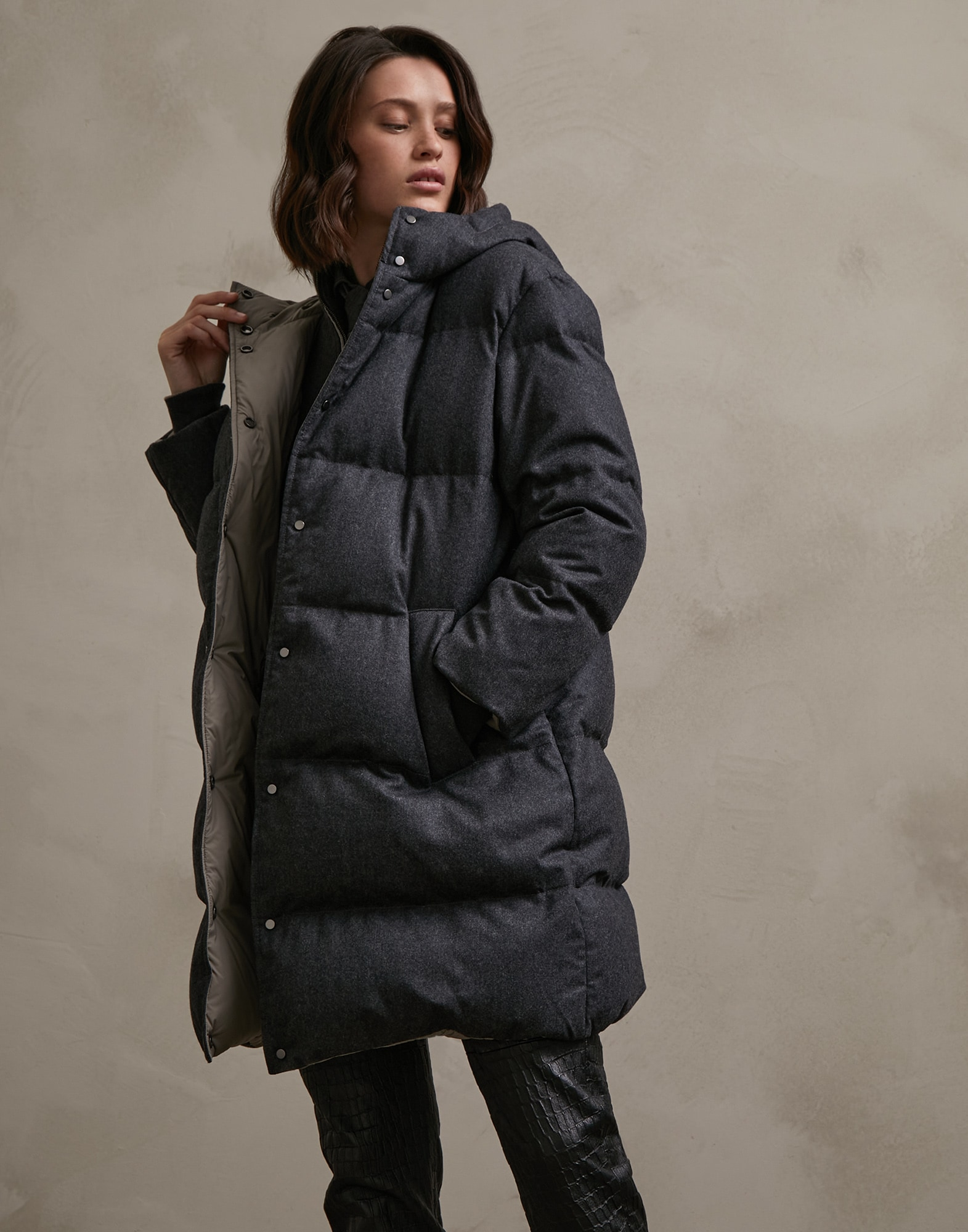 Down Jacket Dark Grey Woman 1 - Brunello Cucinelli
