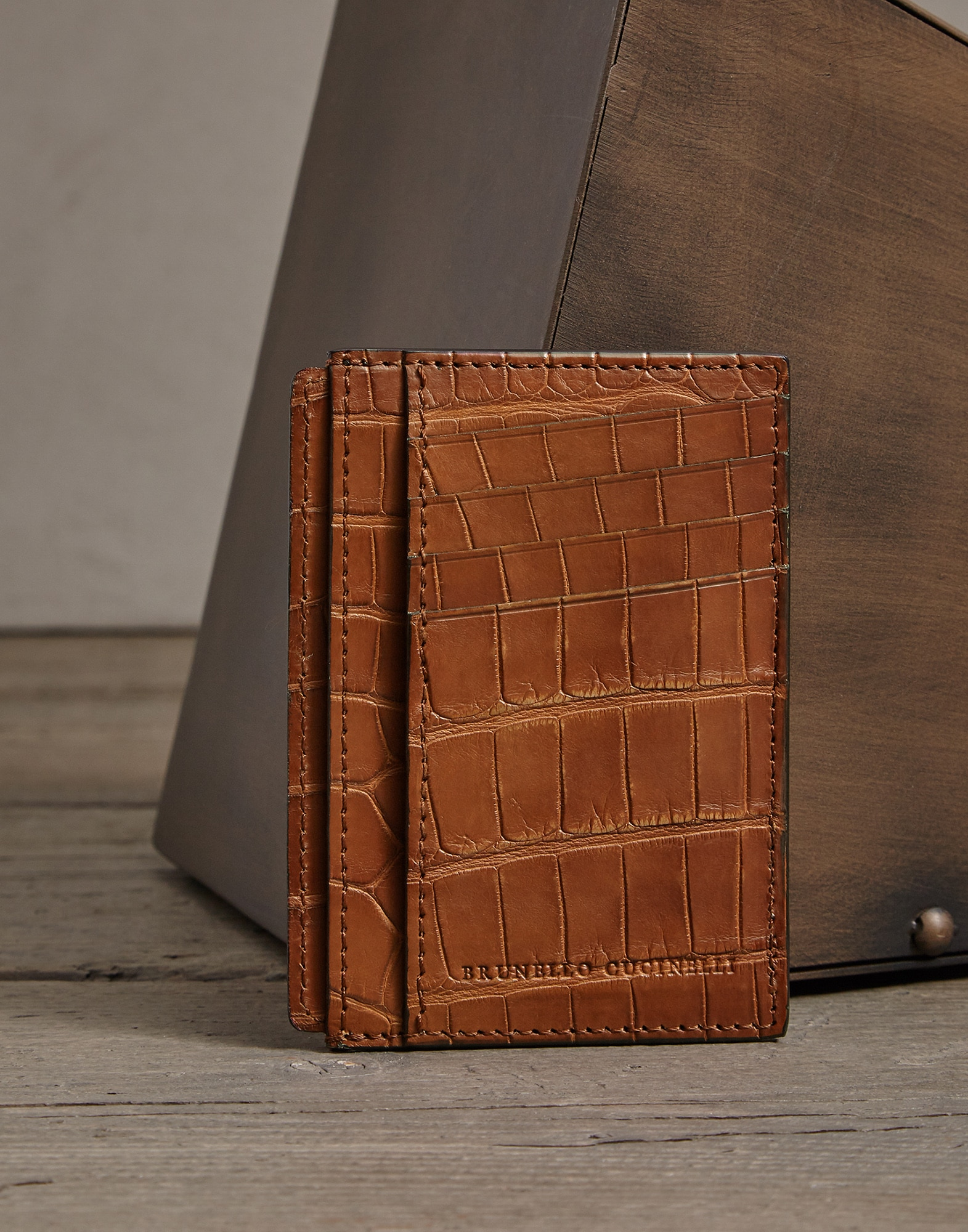 Card Holder Cognac Man 0 - Brunello Cucinelli