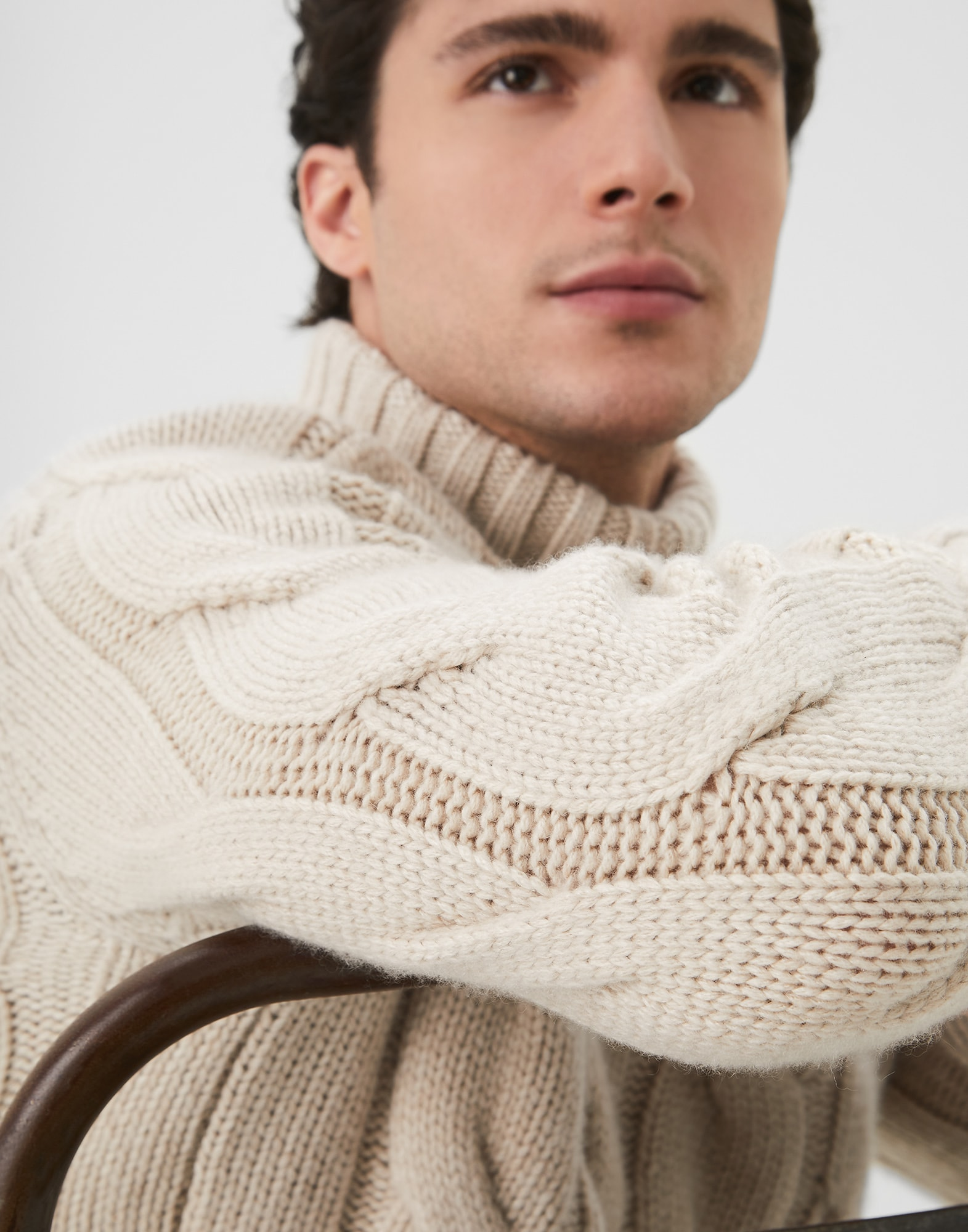 High Neck Sweater Sand Man 2 - Brunello Cucinelli