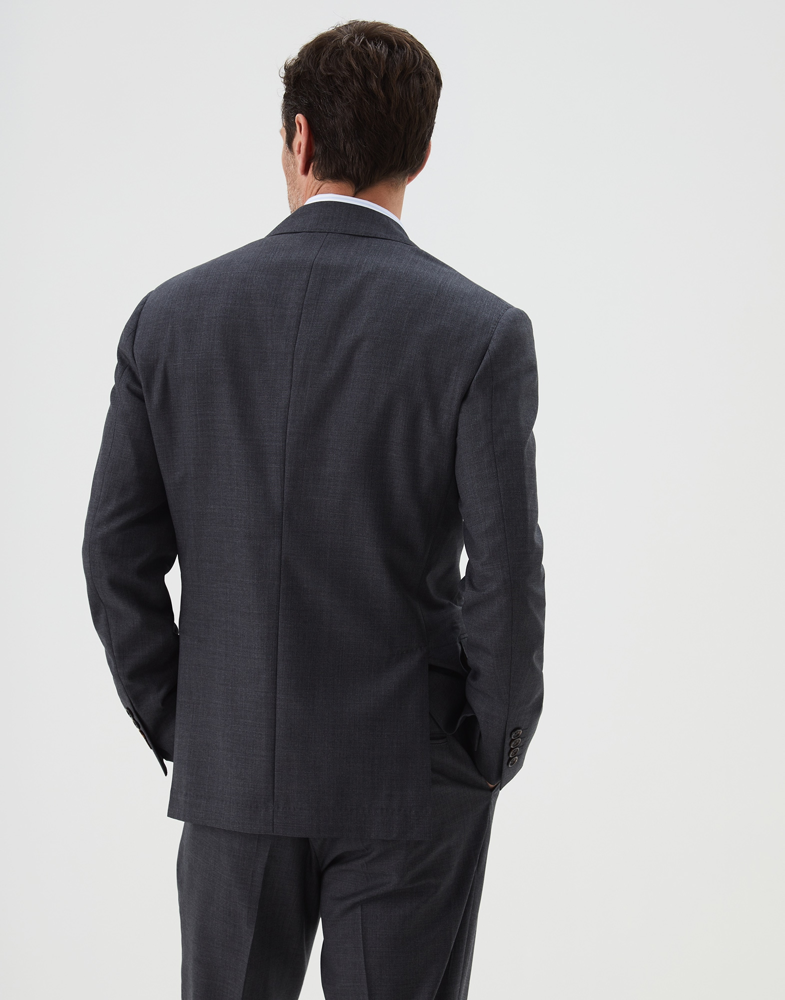 Single Breasted Blazer Dark Grey Man 1 - Brunello Cucinelli