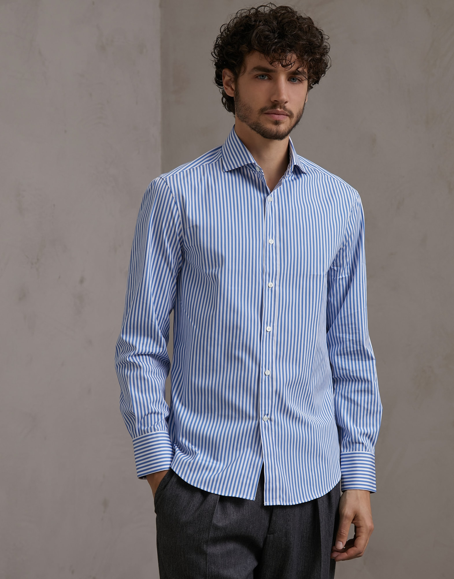 French Collar Shirt Sky Blue Man 1 - Brunello Cucinelli