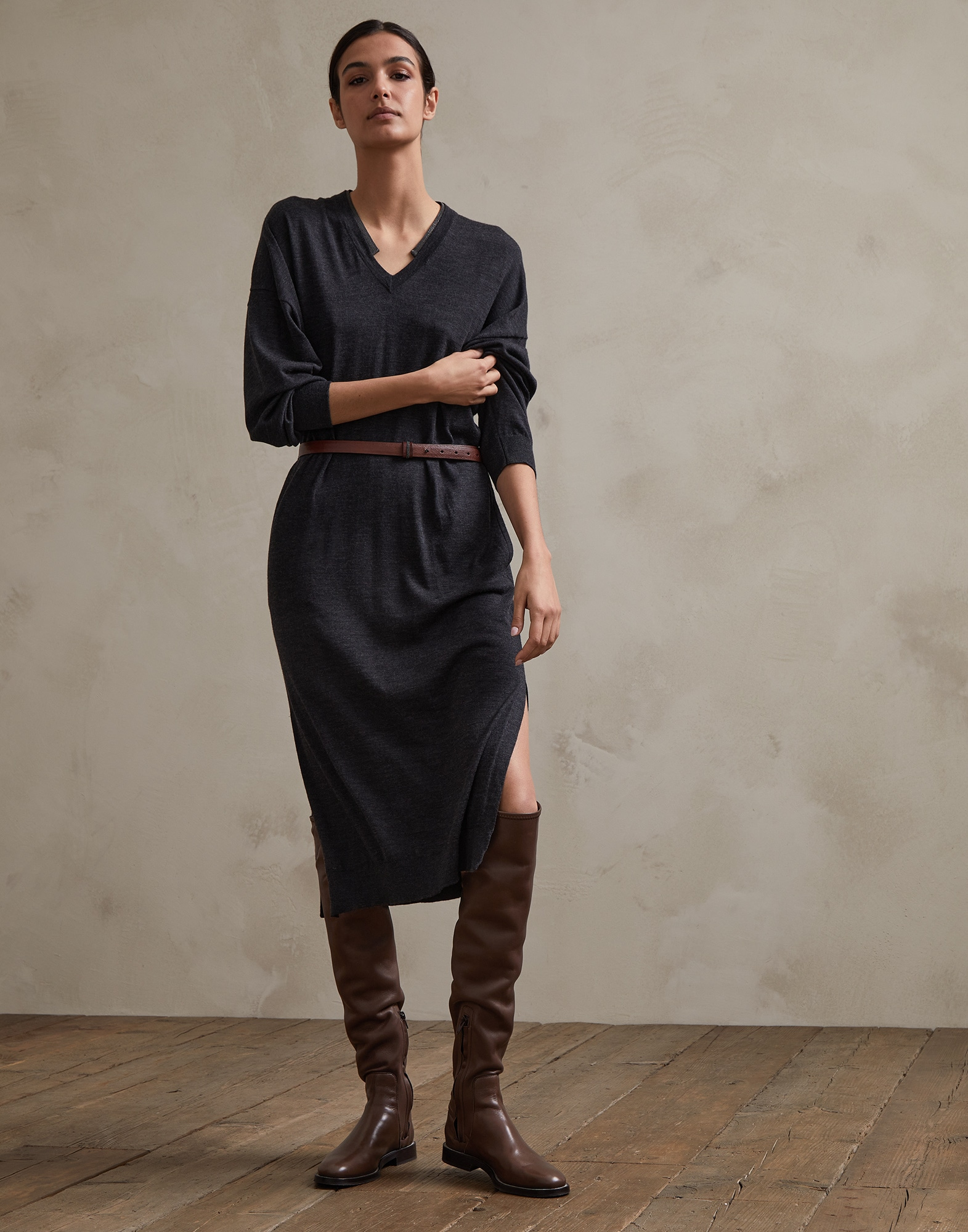 Dress Anthracite Woman 1 - Brunello Cucinelli