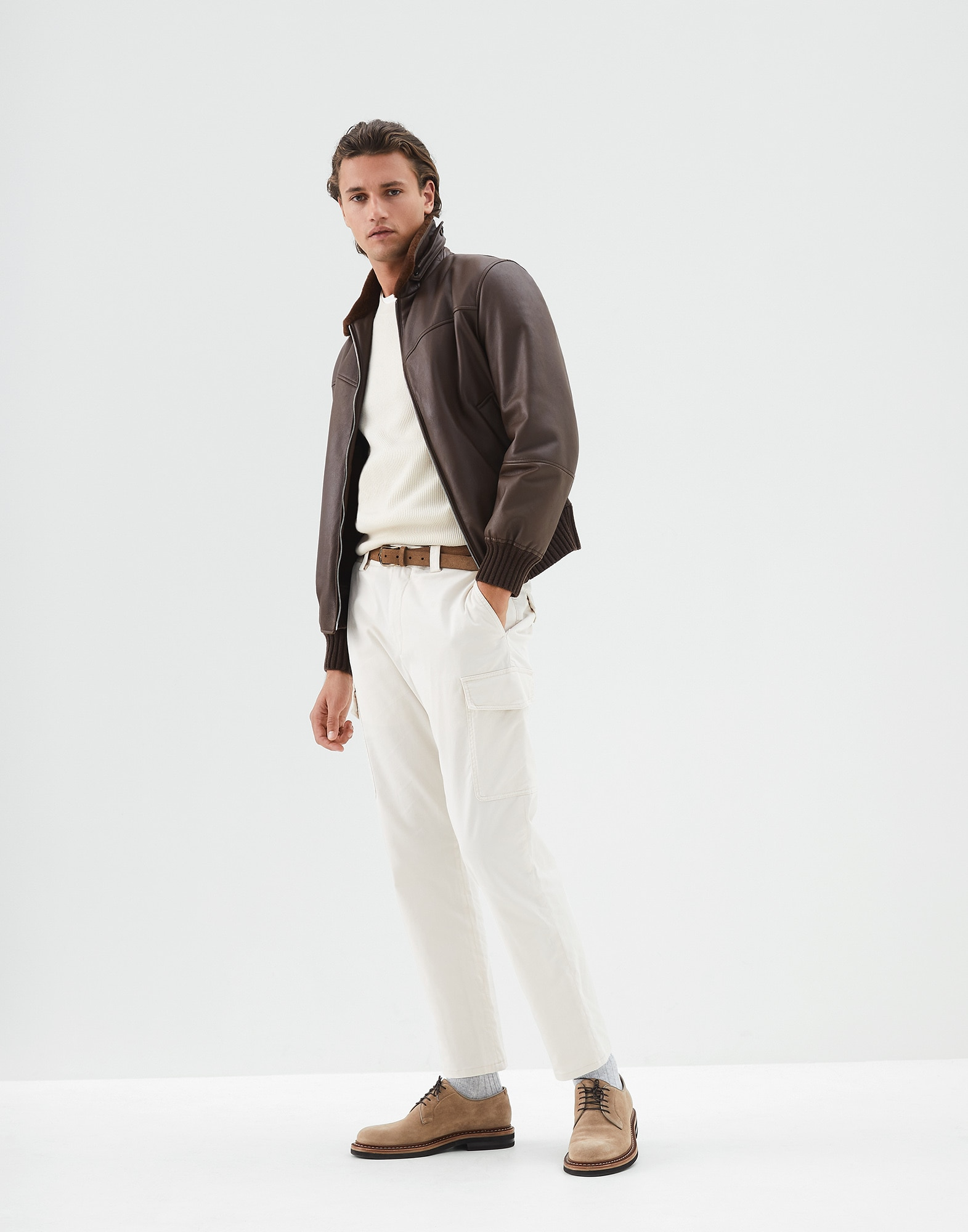 Short Sleeve T-Shirt Off-White Man 3 - Brunello Cucinelli