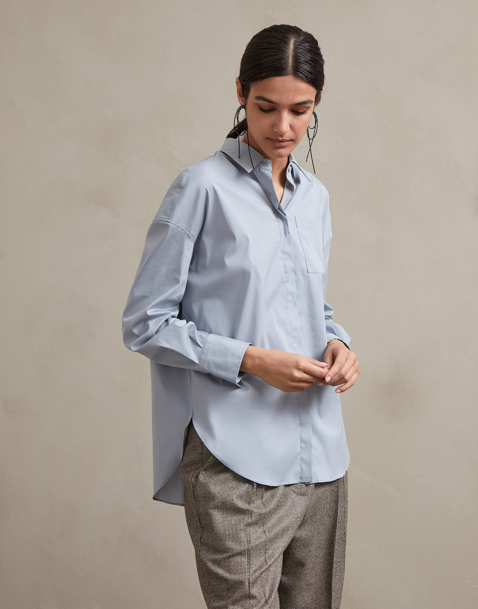 Cotton Shirt Sky Blue Woman 1 - Brunello Cucinelli