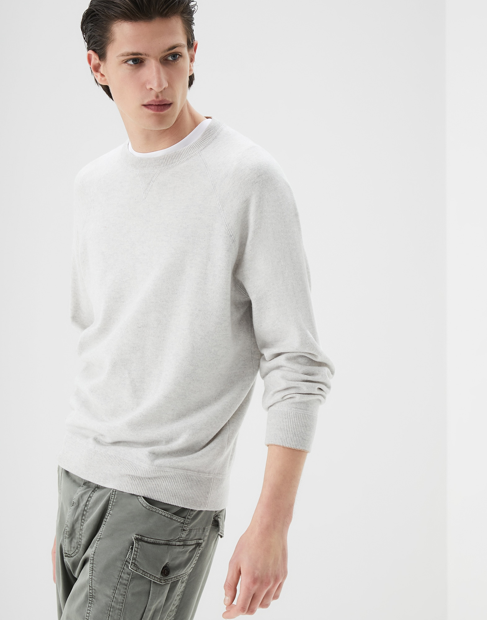 Crewneck Sweater Fog Man 0 - Brunello Cucinelli