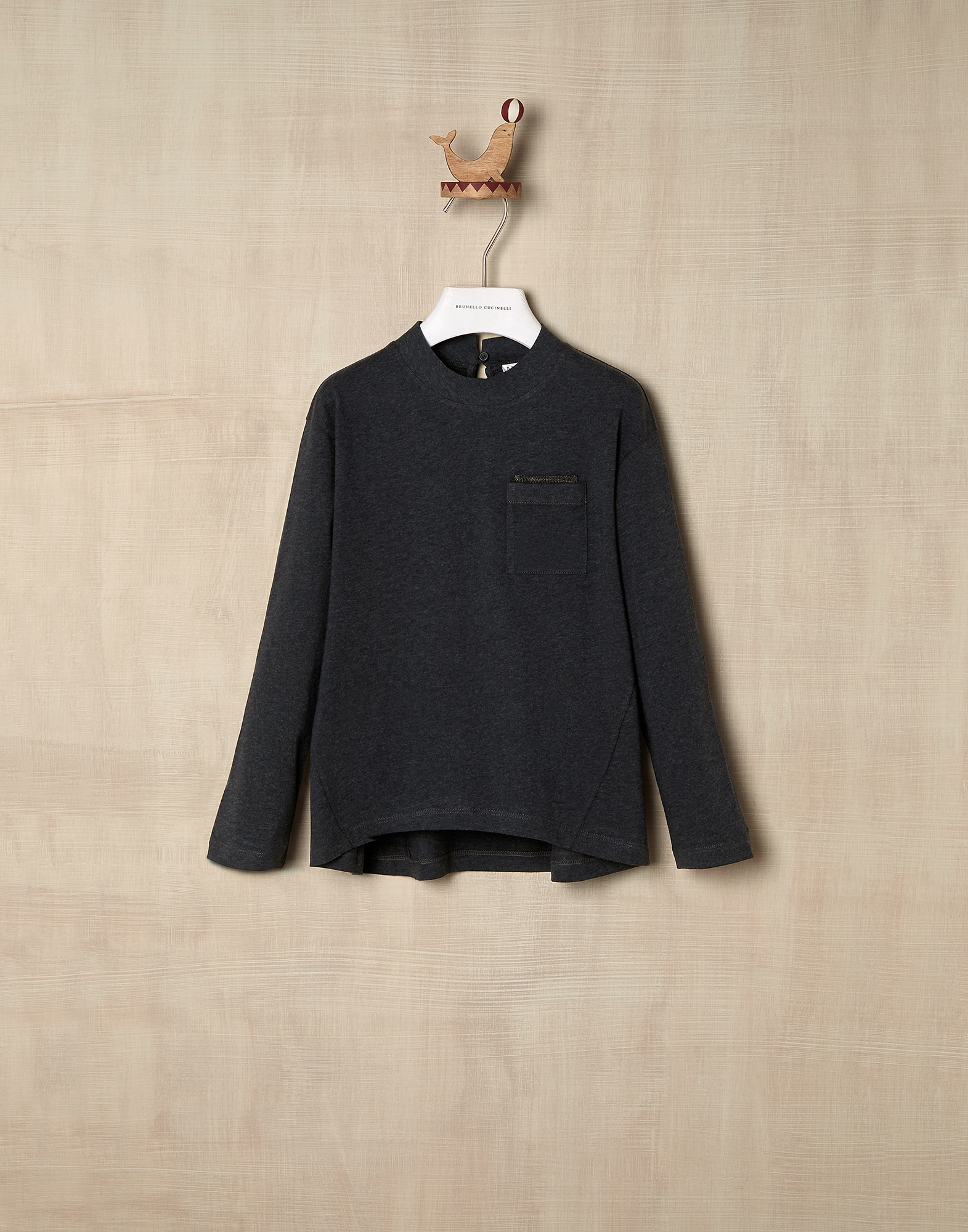 T-Shirt Anthracite Girl 0 - Brunello Cucinelli