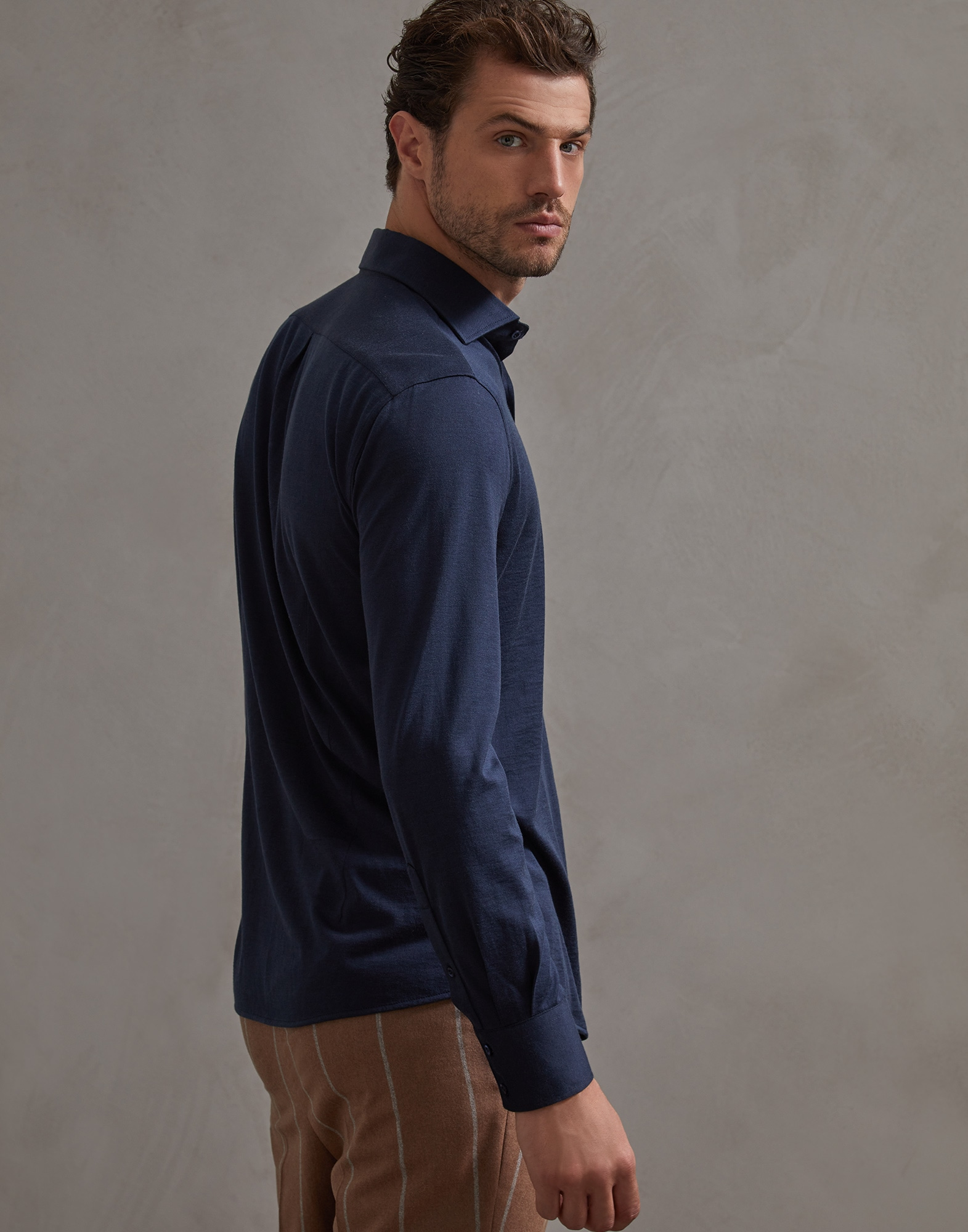 French Collar Shirt Marine Blue Man 2 - Brunello Cucinelli