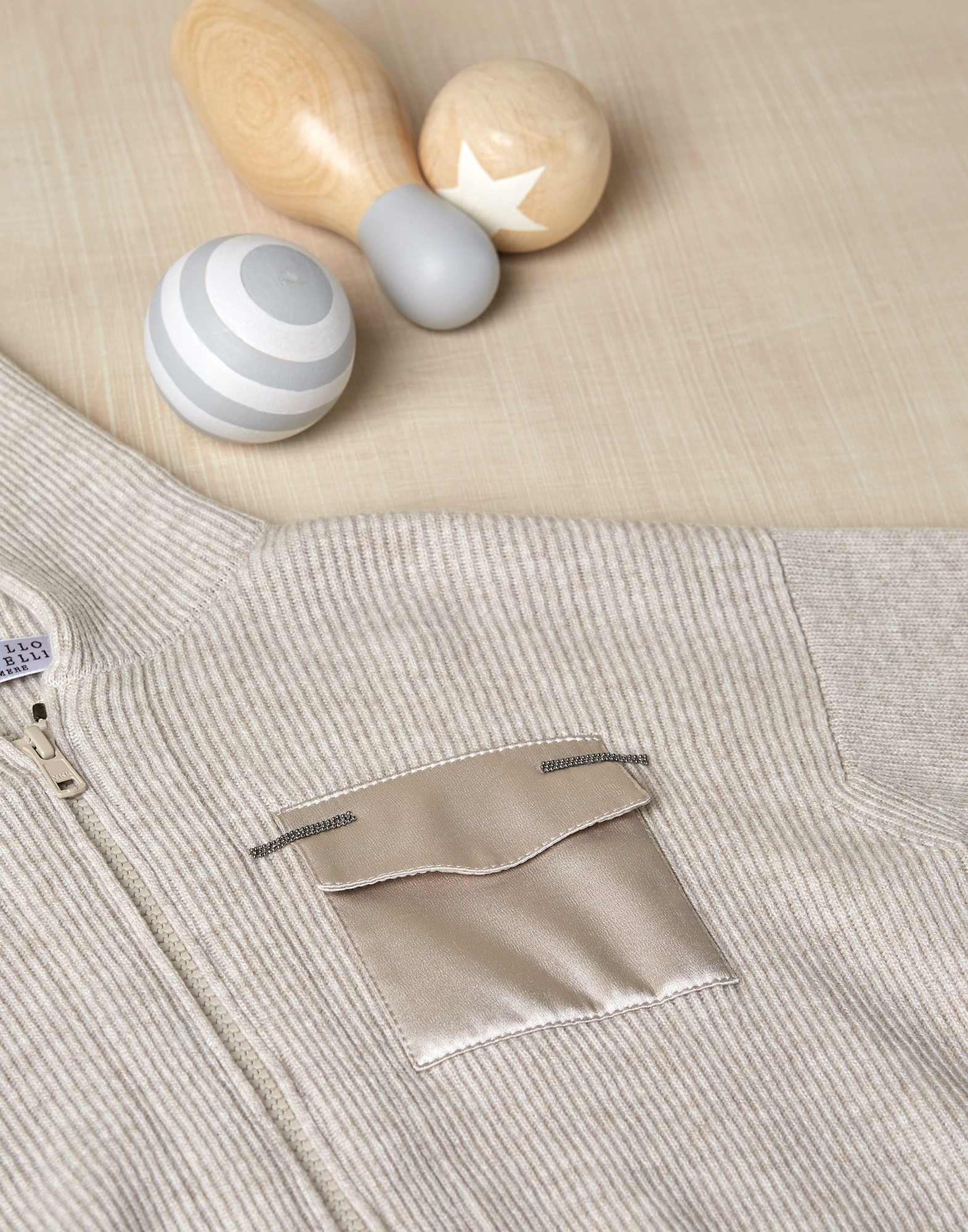 Cardigan Gris Oyster Fille 2 - Brunello Cucinelli