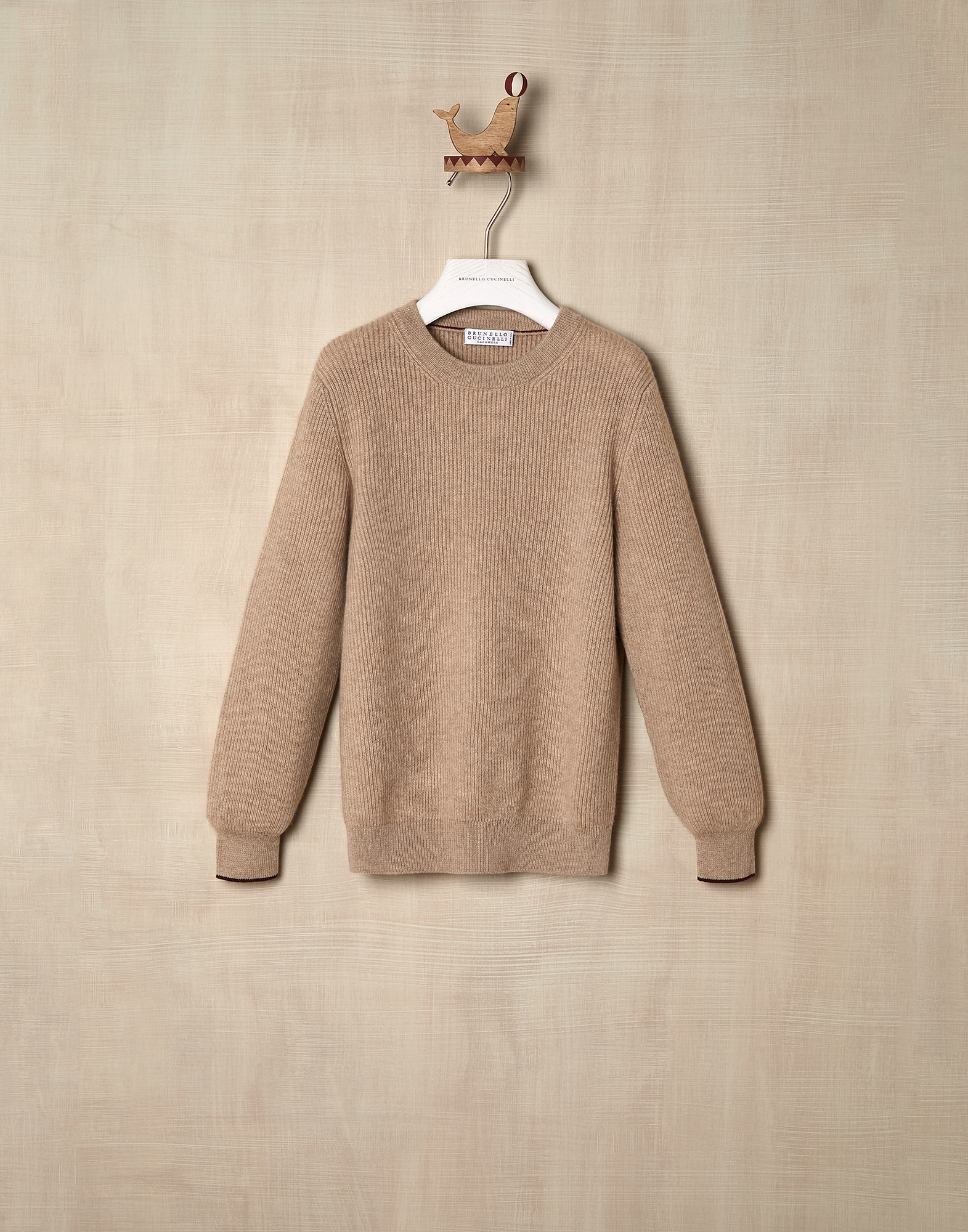 Crewneck Sweater Brown Boy 0 - Brunello Cucinelli