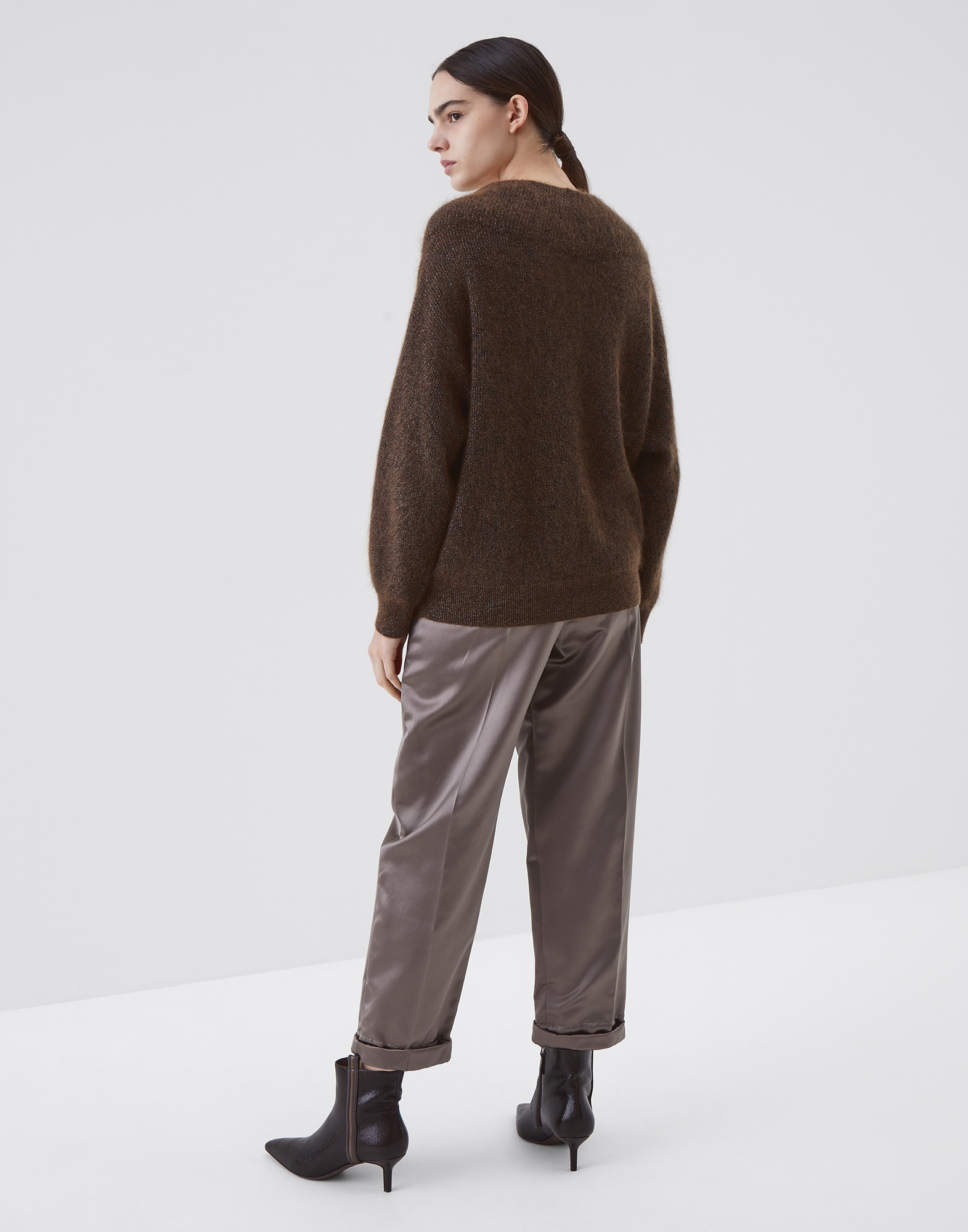 Scoop Neck Brown Woman 2 - Brunello Cucinelli