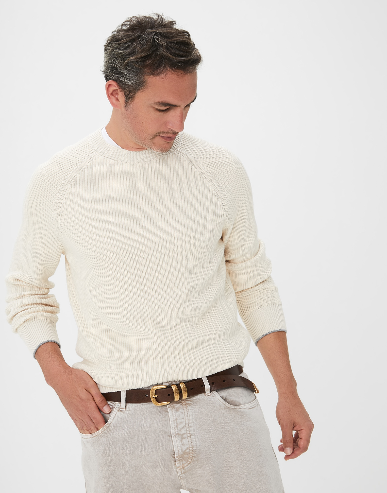 Crewneck Sweater Ivory Man 0 - Brunello Cucinelli
