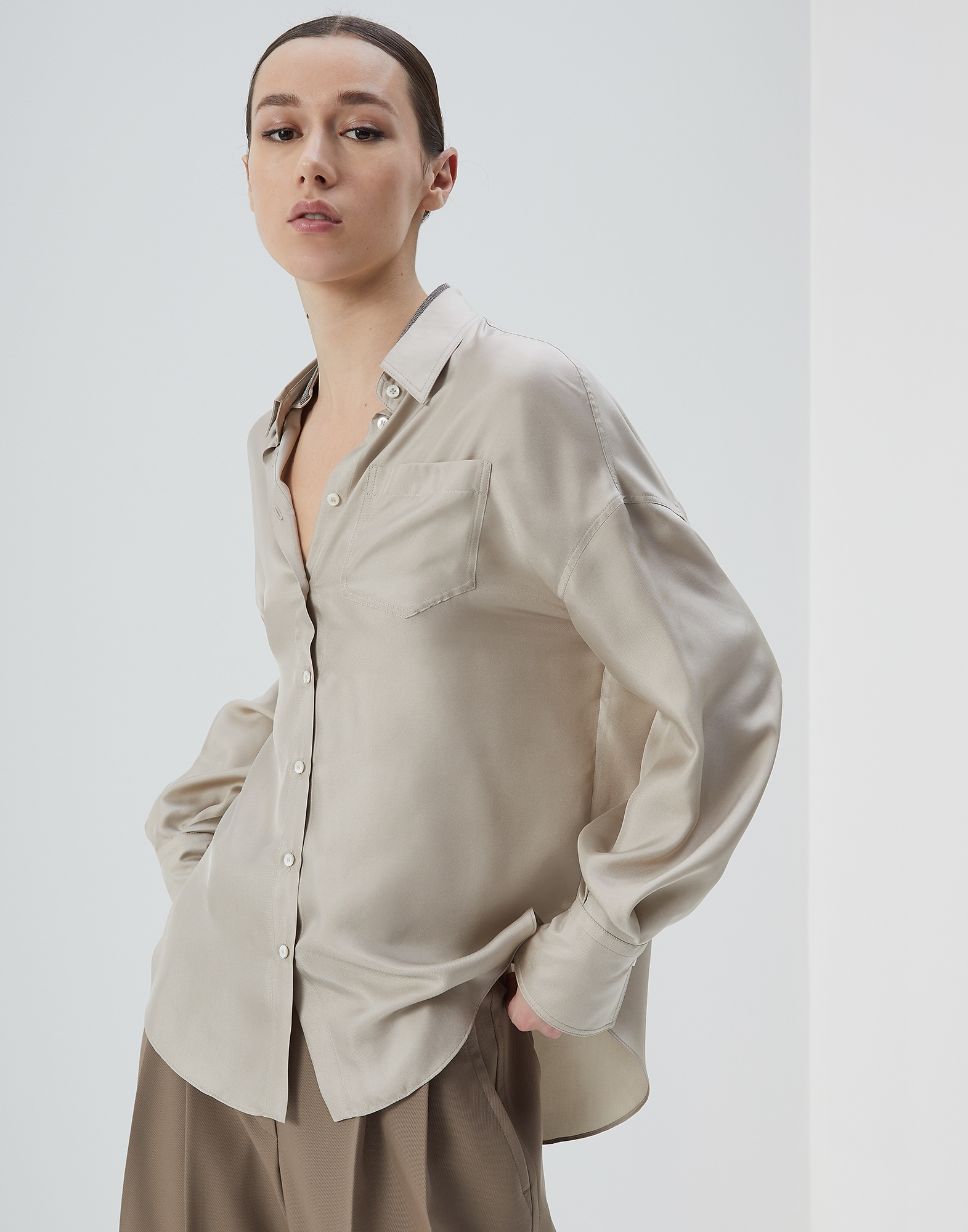 Silk Shirt Cool Beige Woman 1 - Brunello Cucinelli