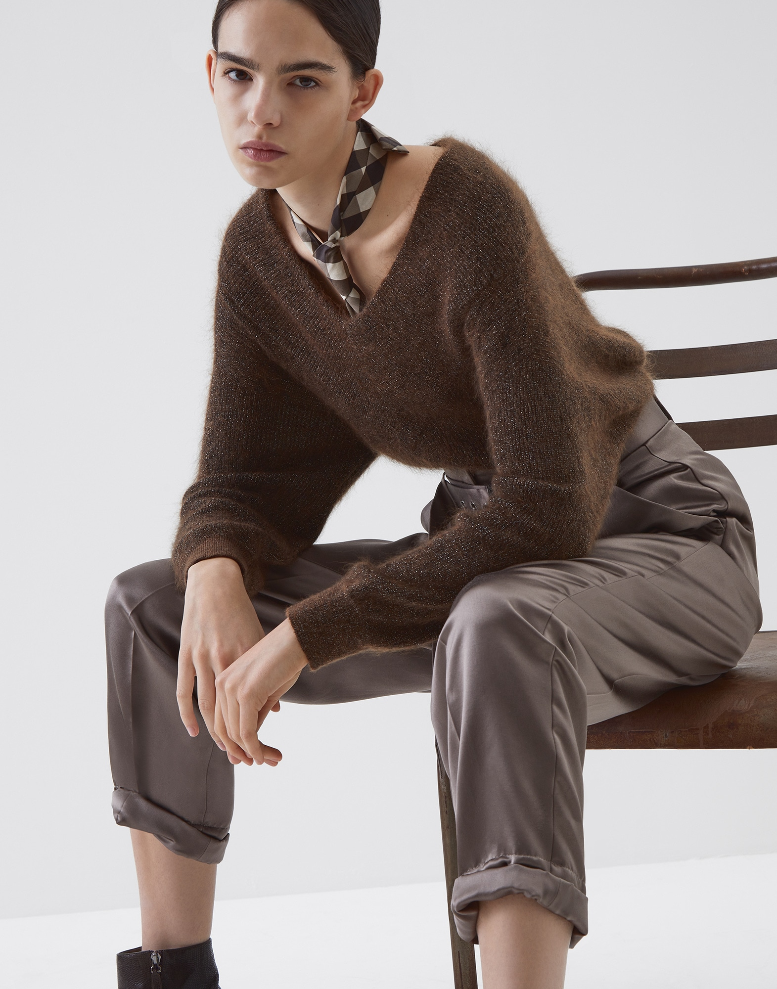 Scoop Neck Brown Woman 0 - Brunello Cucinelli