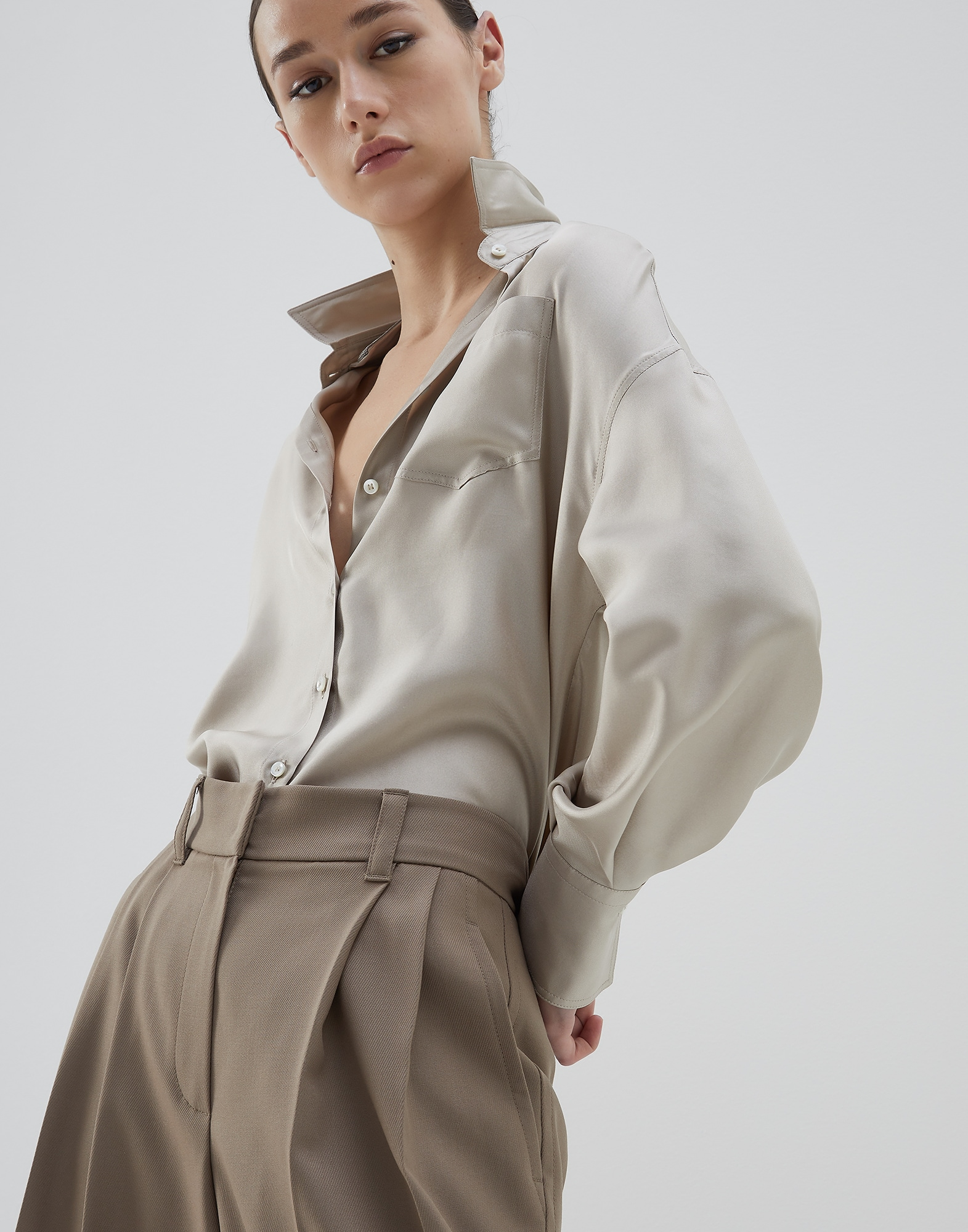 Silk Shirt Cool Beige Woman 0 - Brunello Cucinelli
