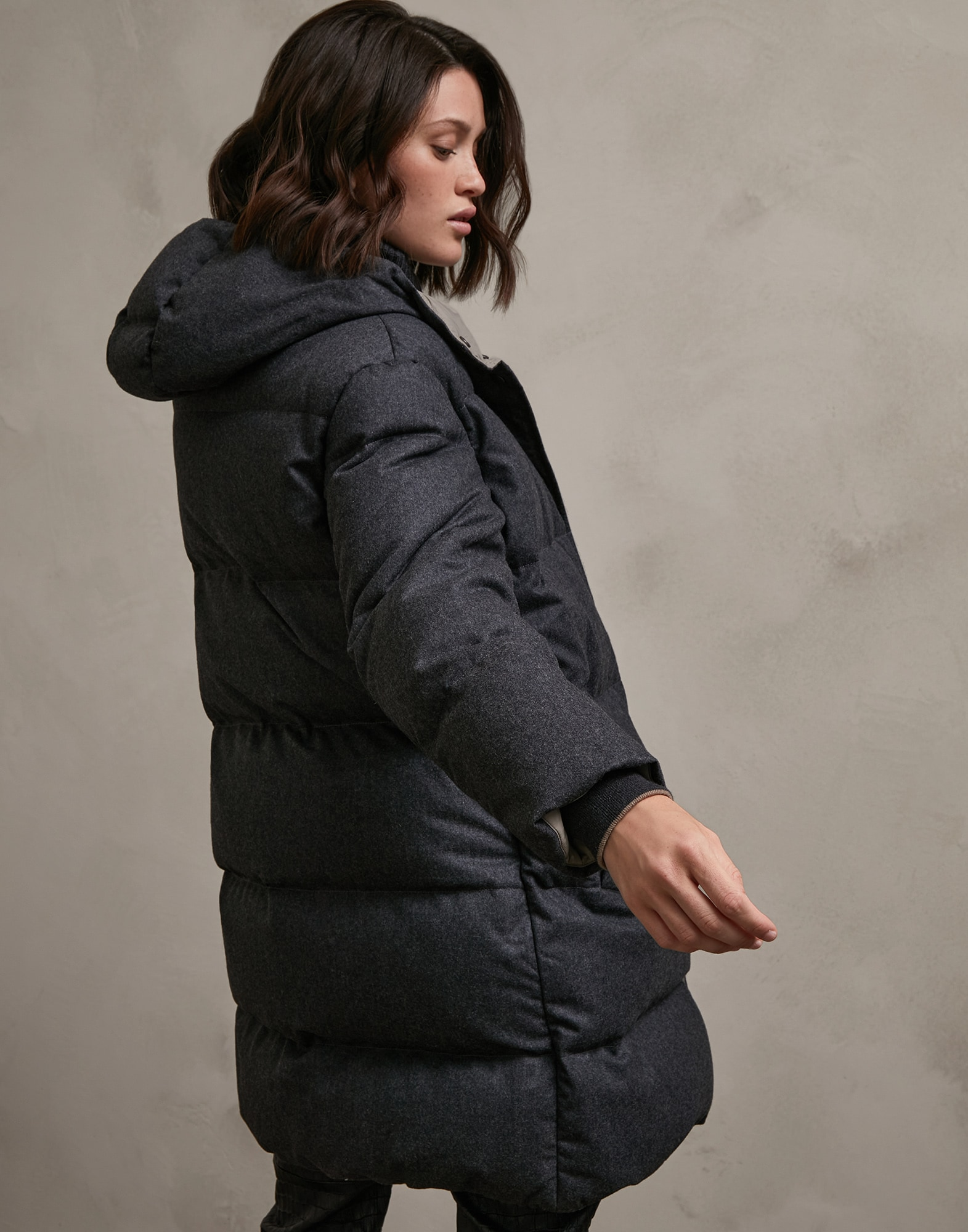 Down Jacket Dark Grey Woman 2 - Brunello Cucinelli
