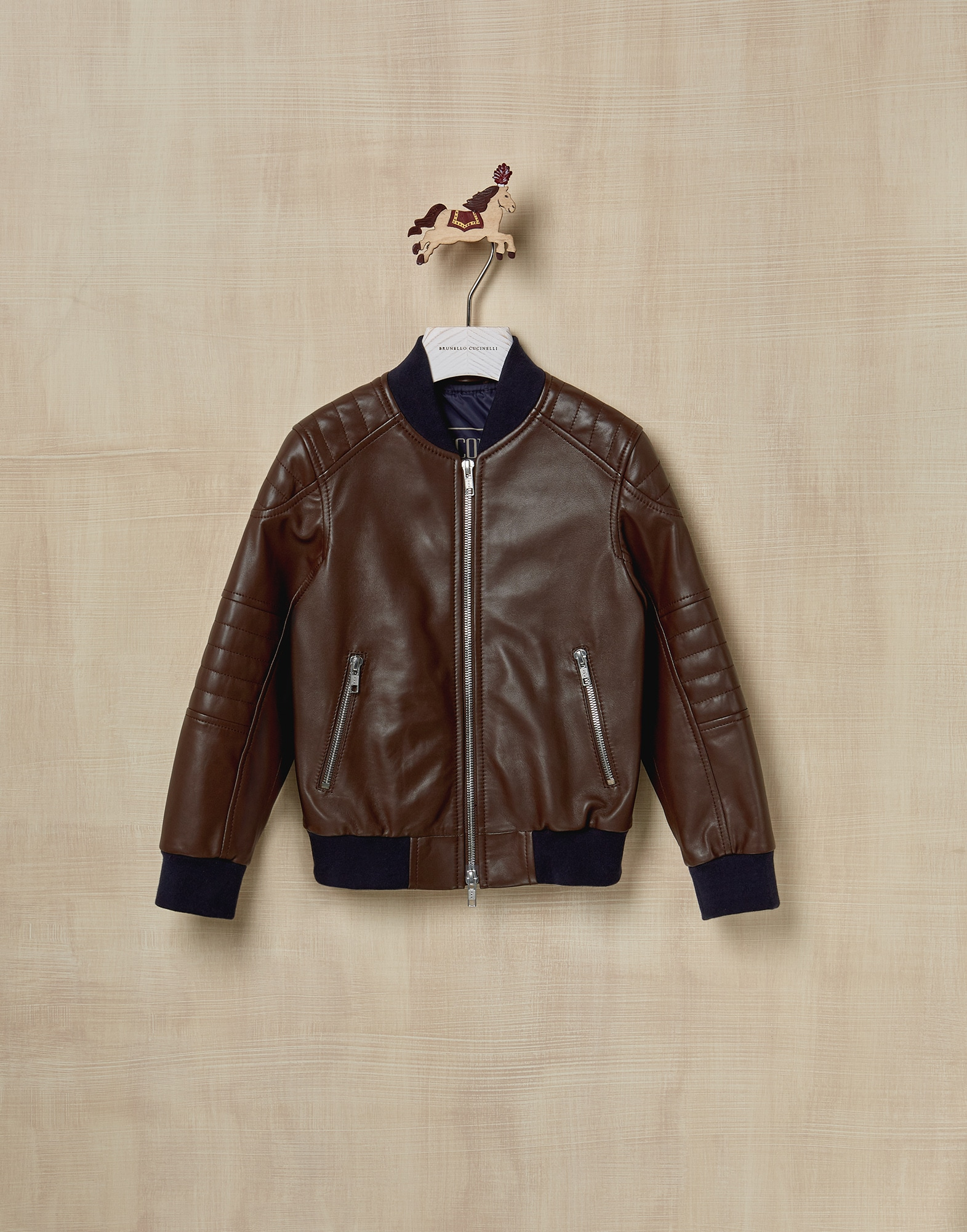 Leather Chestnut Boy 0 - Brunello Cucinelli