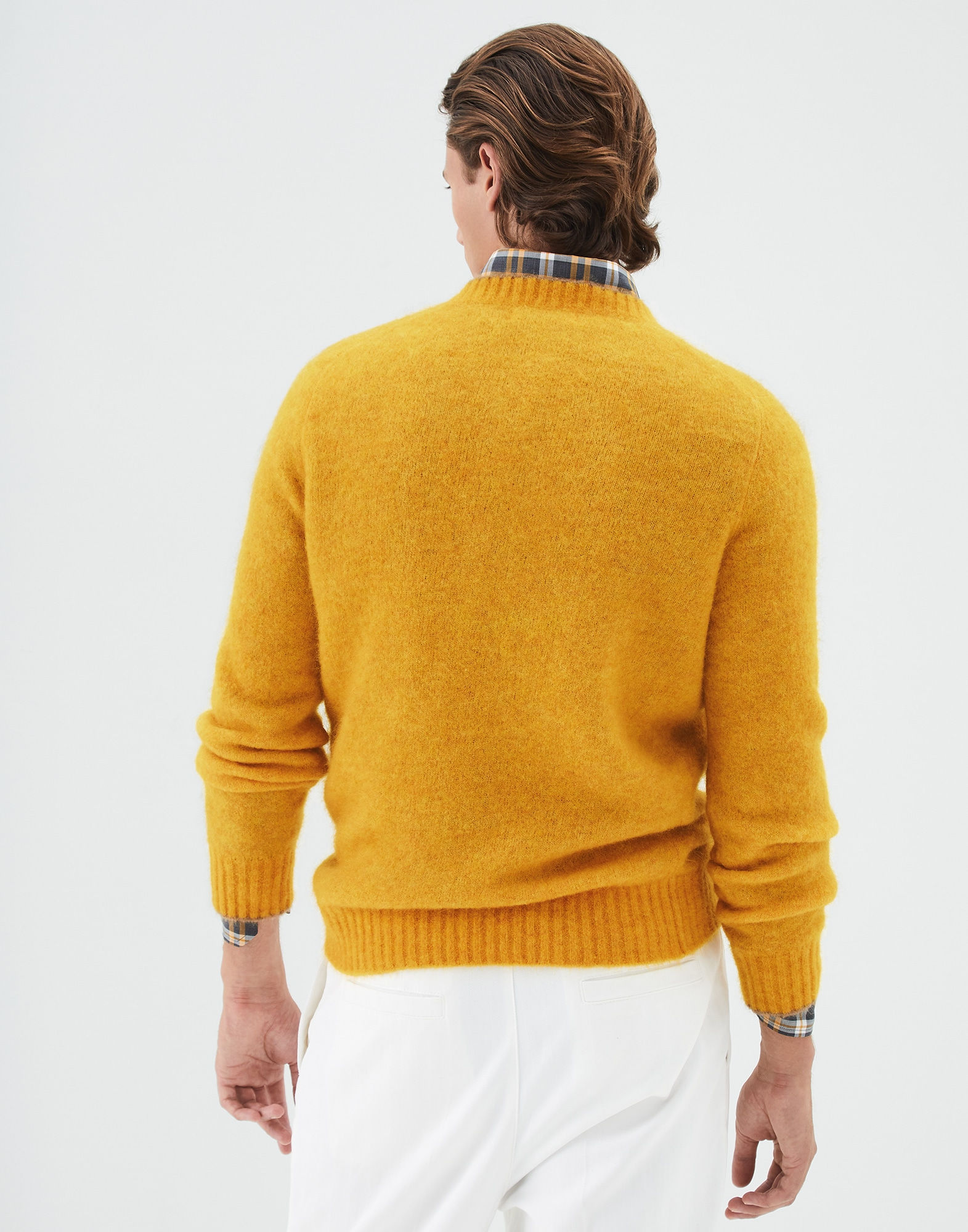 Crewneck Sweater Yellow Man 1 - Brunello Cucinelli