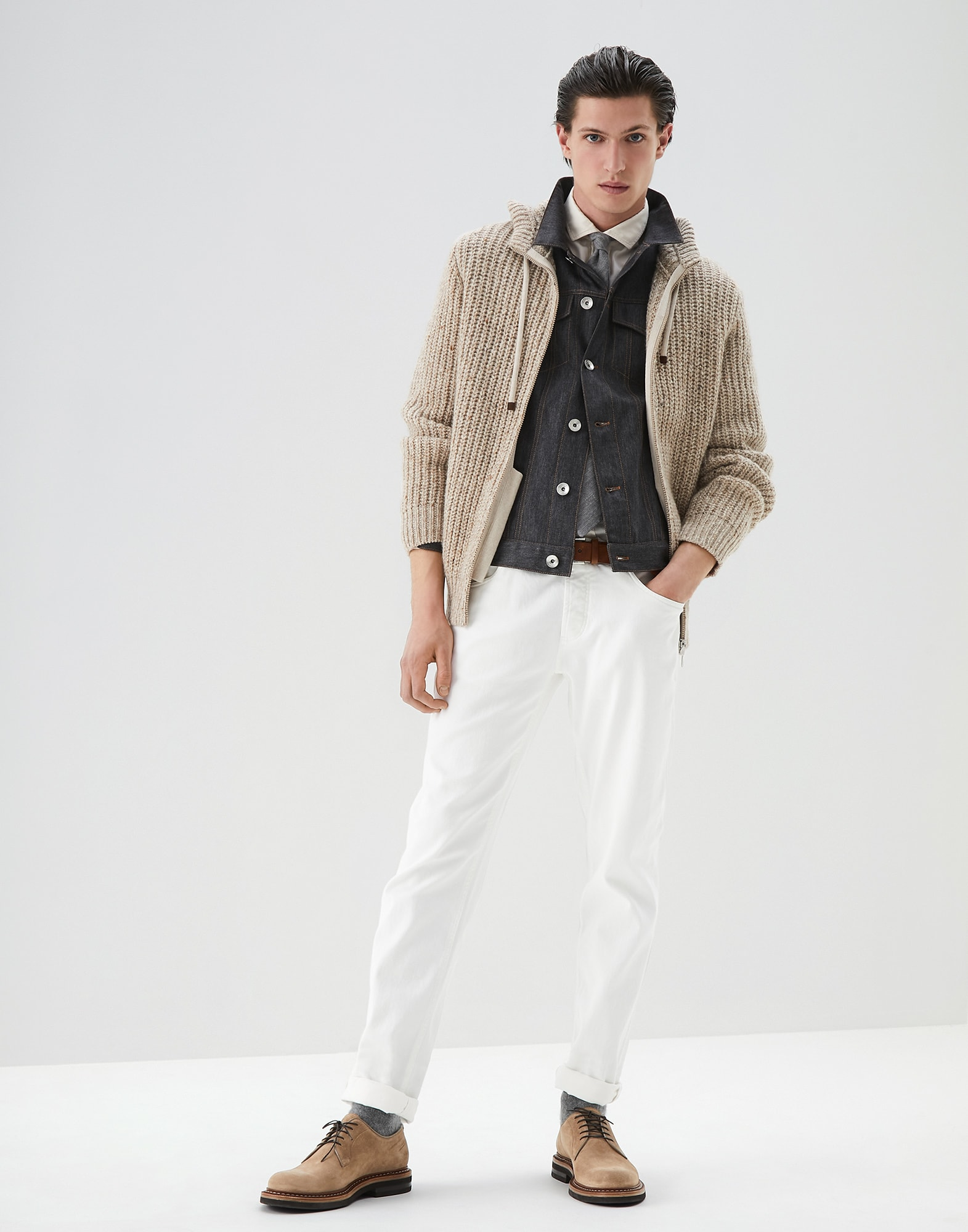 French Collar Shirt Off-White Man 4 - Brunello Cucinelli