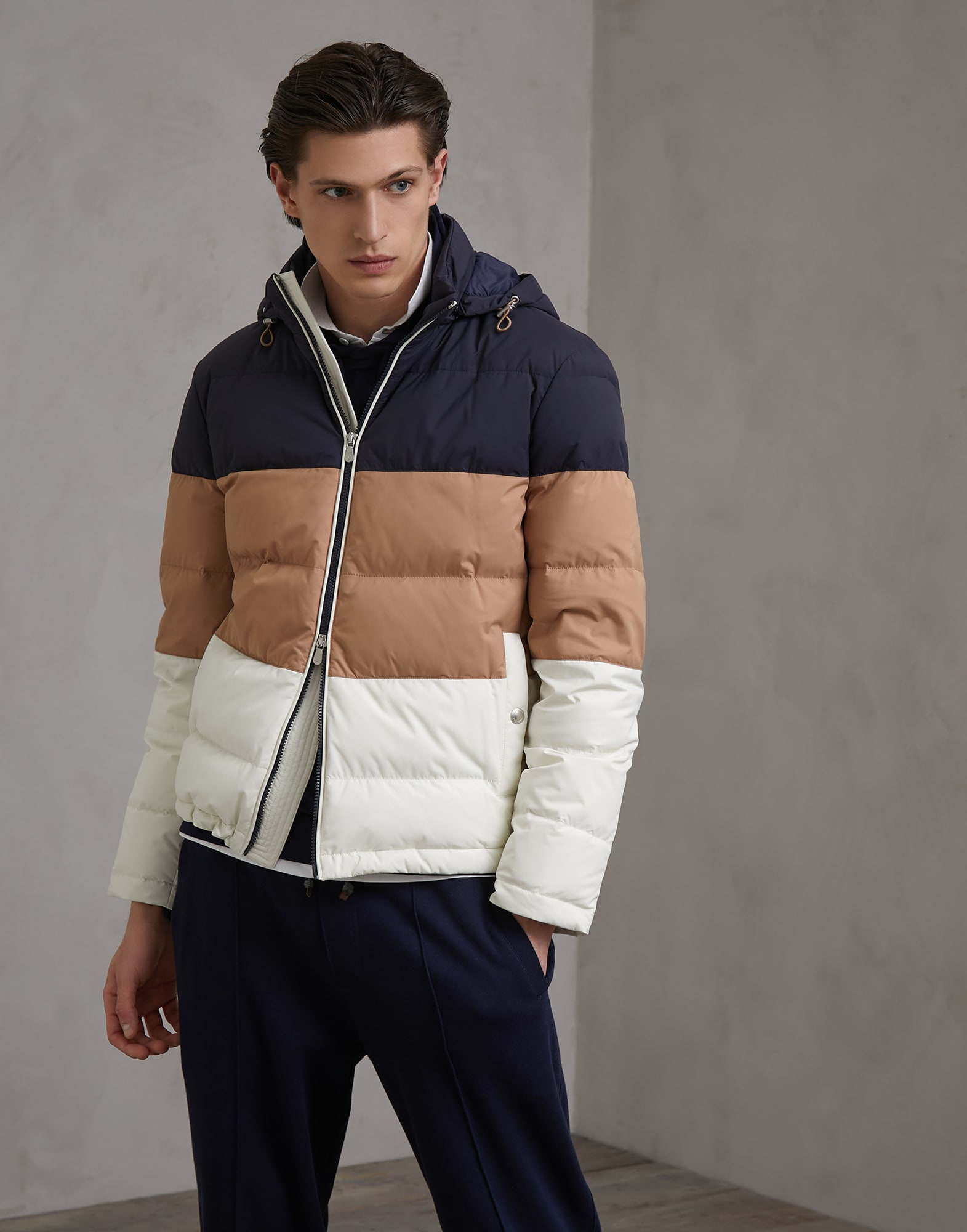Down Jacket Off-White Man 1 - Brunello Cucinelli