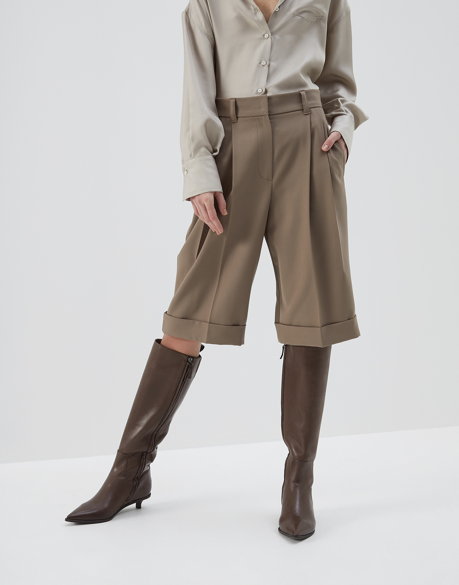 Bermuda Shorts Brown Woman 0 - Brunello Cucinelli