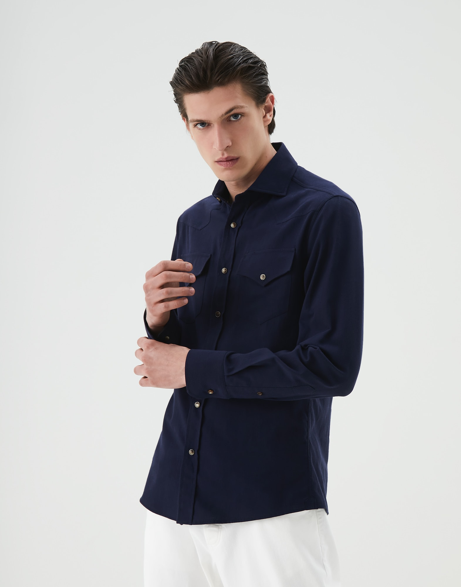 Casual Shirt Blue Man 1 - Brunello Cucinelli