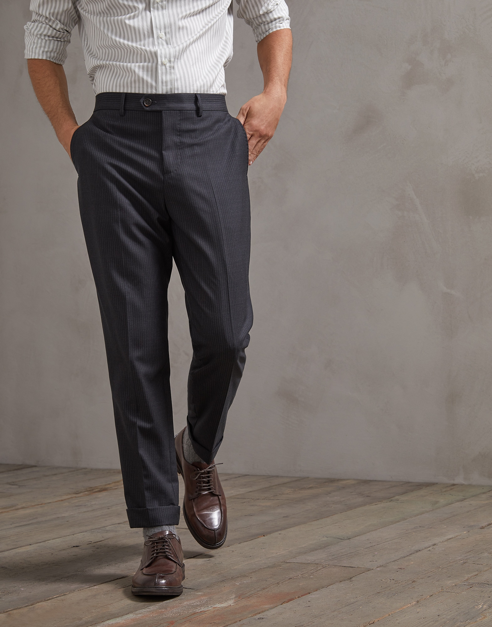 Trousers Dark Grey Man 0 - Brunello Cucinelli