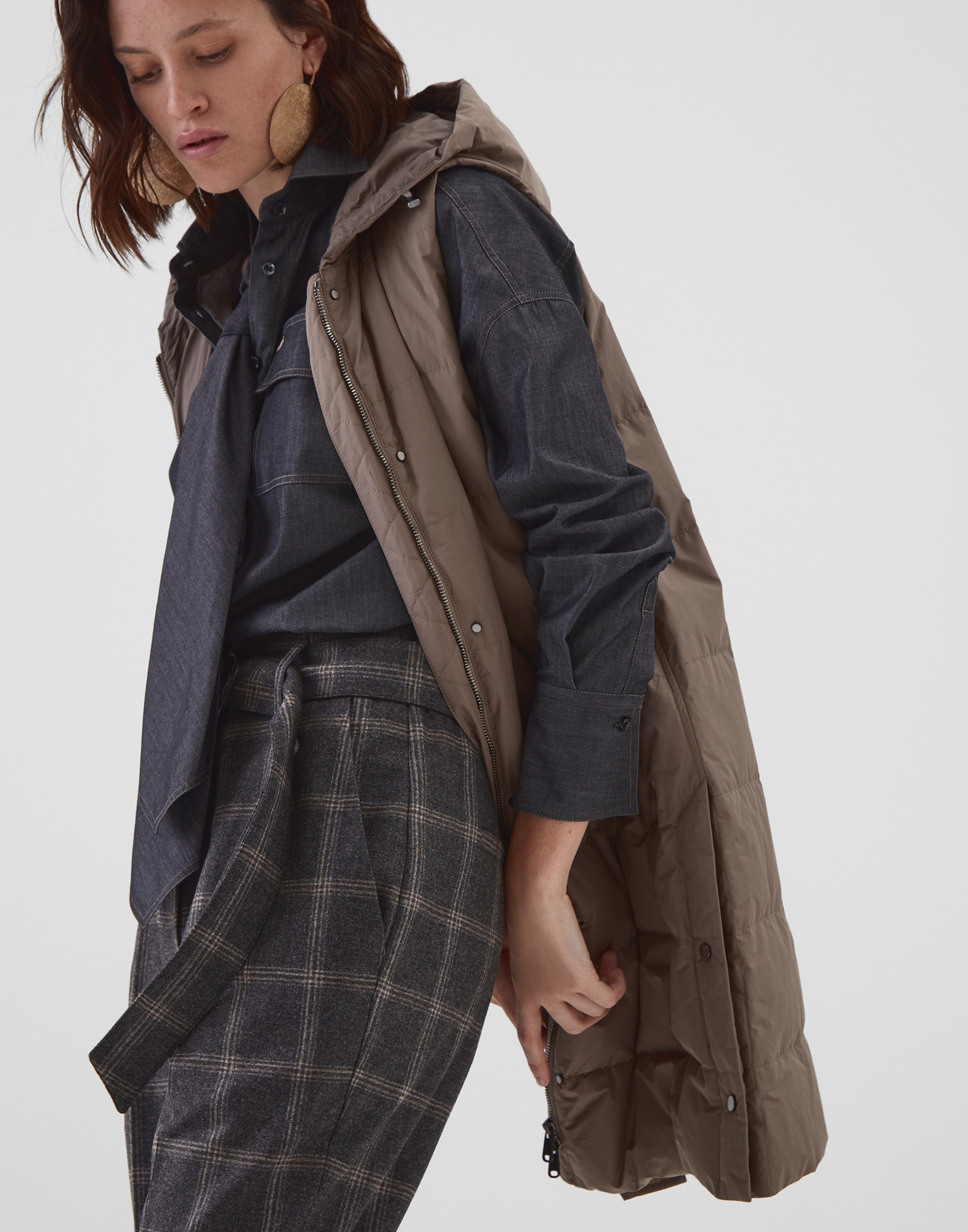 Knit Outerwear Brown Woman 4 - Brunello Cucinelli