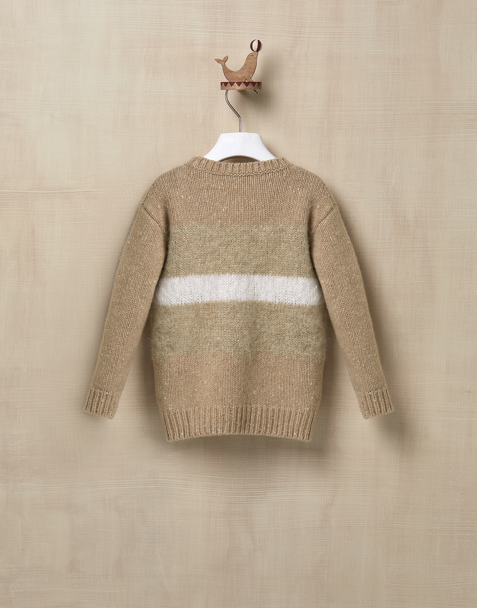 Crewneck Sweater Beige Girl 2 - Brunello Cucinelli