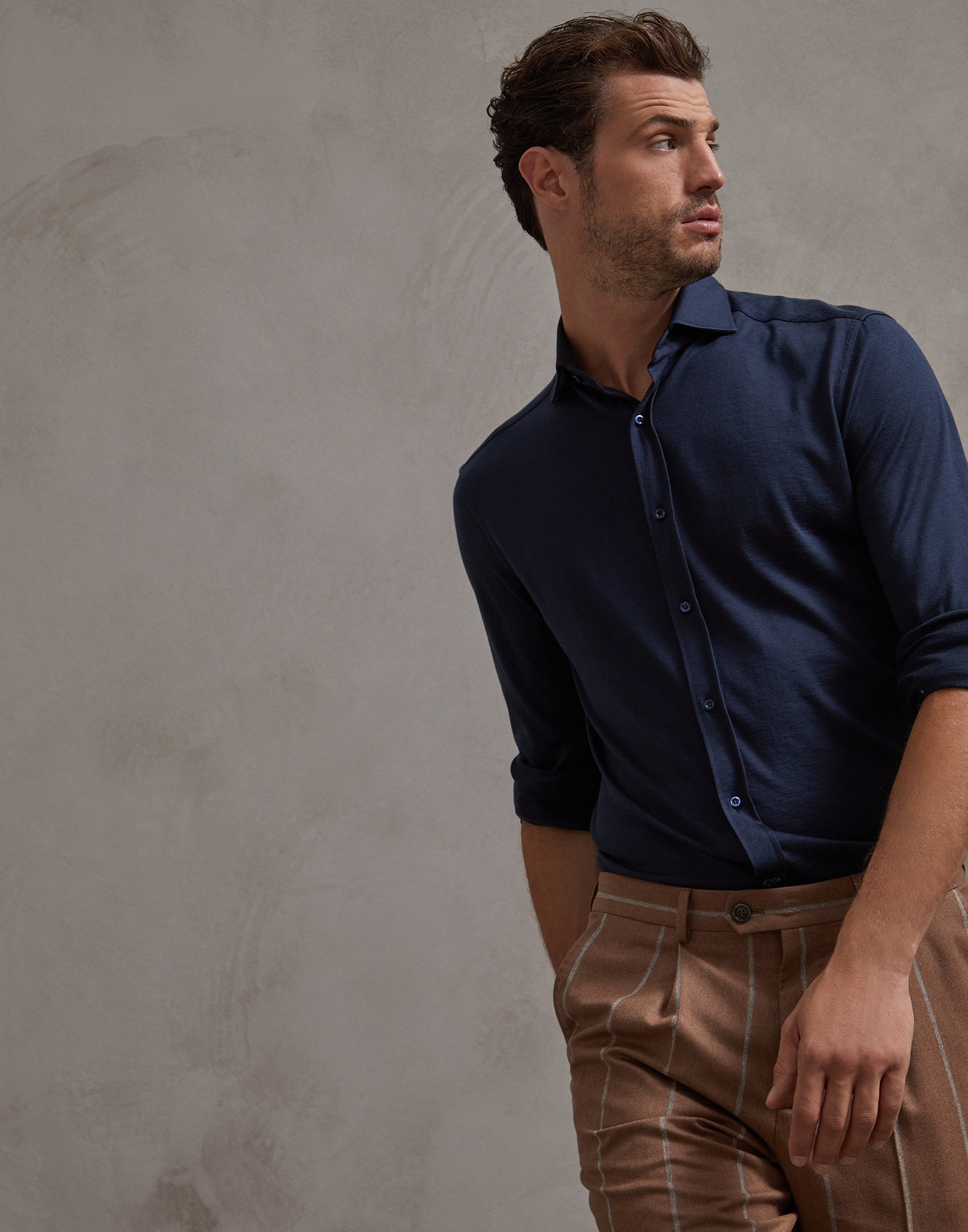 French Collar Shirt Marine Blue Man 0 - Brunello Cucinelli