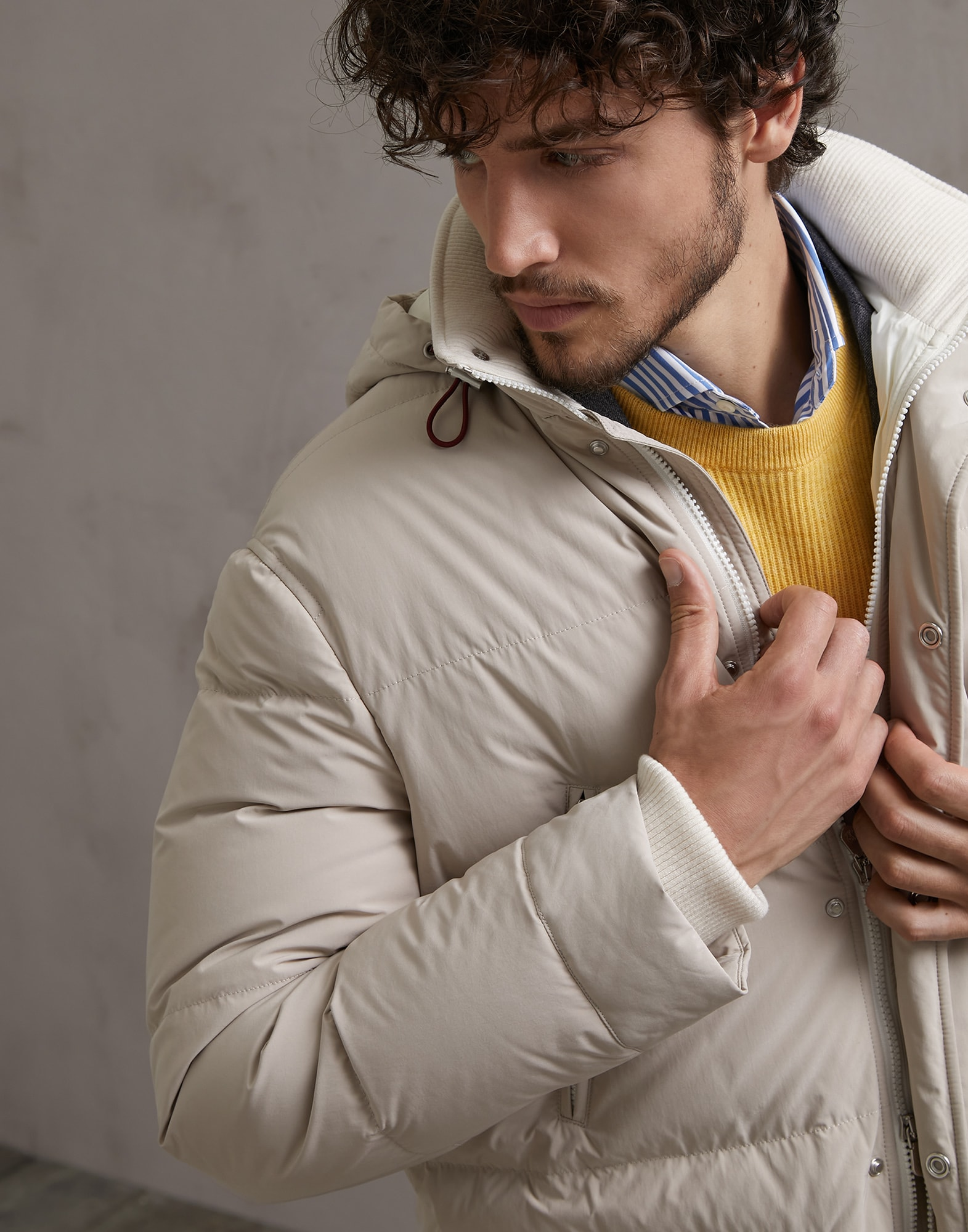 Down Jacket Beige Man 3 - Brunello Cucinelli