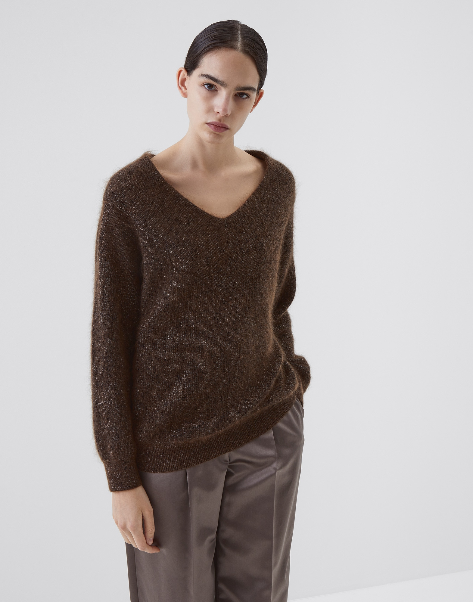 Scoop Neck Brown Woman 1 - Brunello Cucinelli