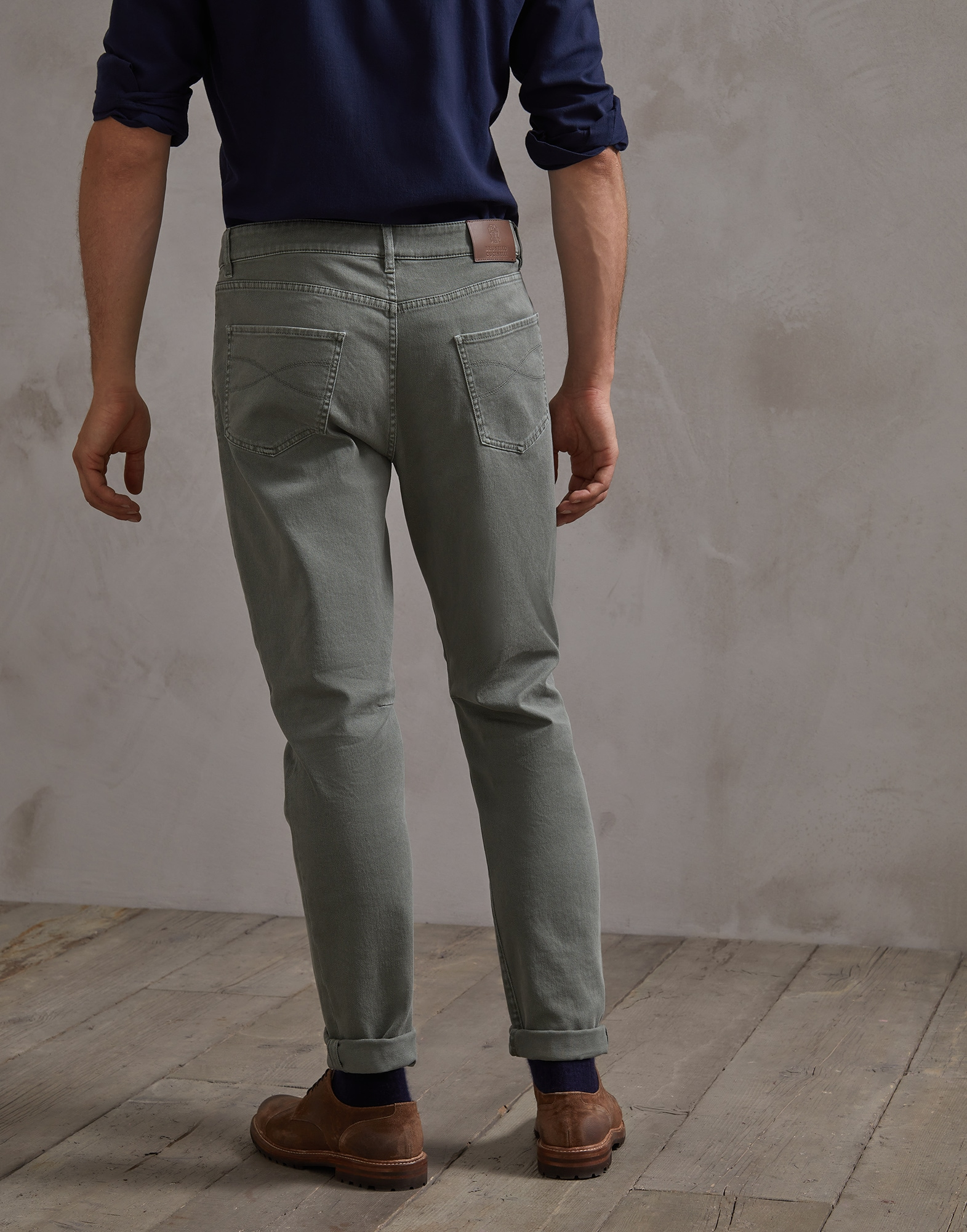 Denim Trousers Khaki Man 1 - Brunello Cucinelli