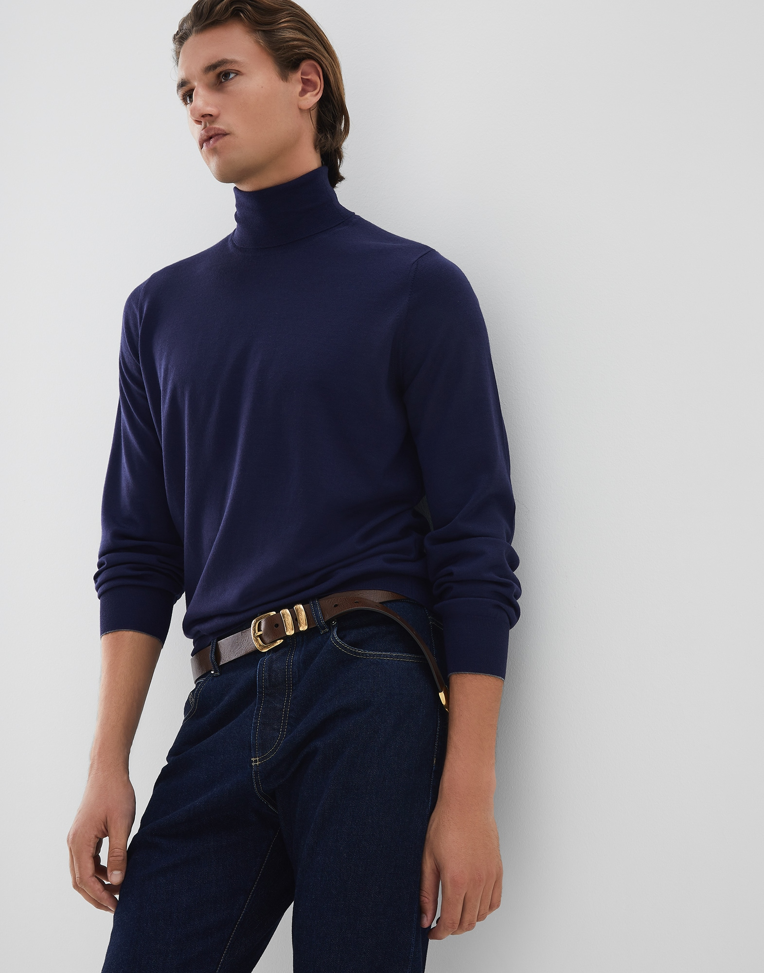High Neck Sweater Blue Man 4 - Brunello Cucinelli