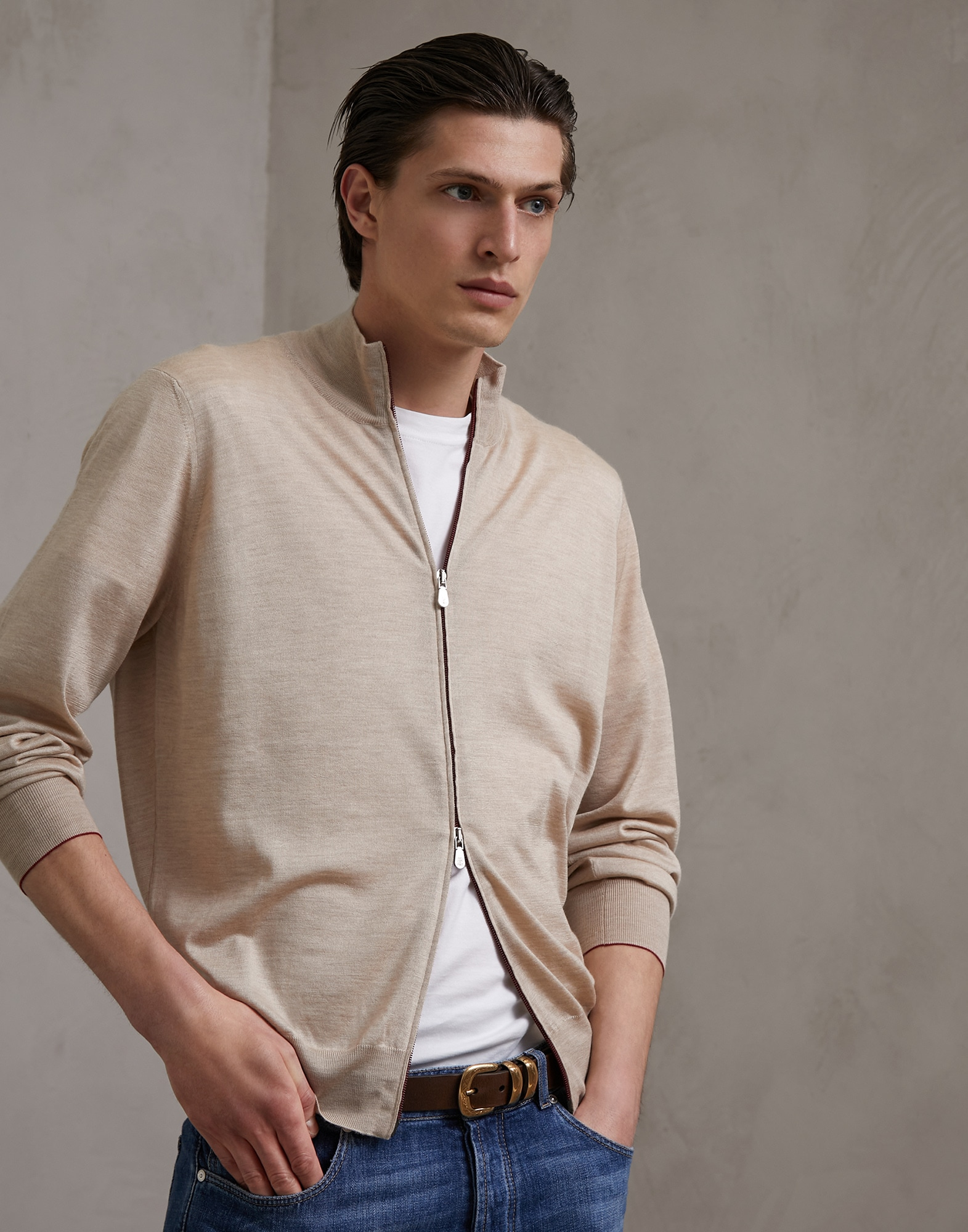 Zip-front Cardigan Light Brown Man 1 - Brunello Cucinelli
