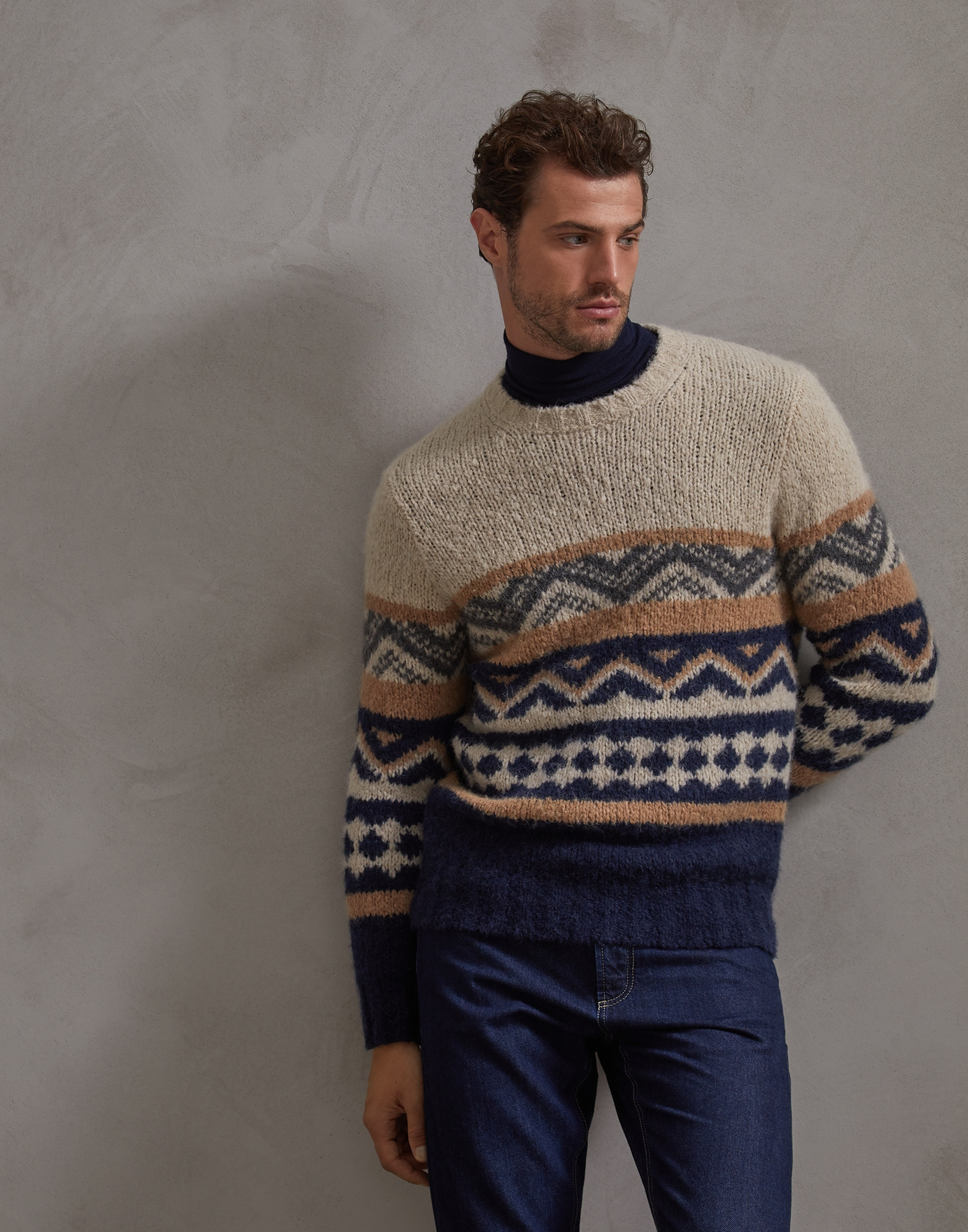 Crewneck Sweater Sand Man 1 - Brunello Cucinelli
